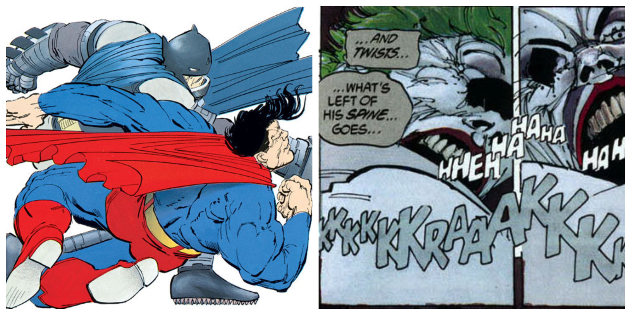 Figure 6: Panels from Frank Miller's  The Dark Knight Returns : on the left, Batman punches Superman, while on the right he finally kills the Joker.