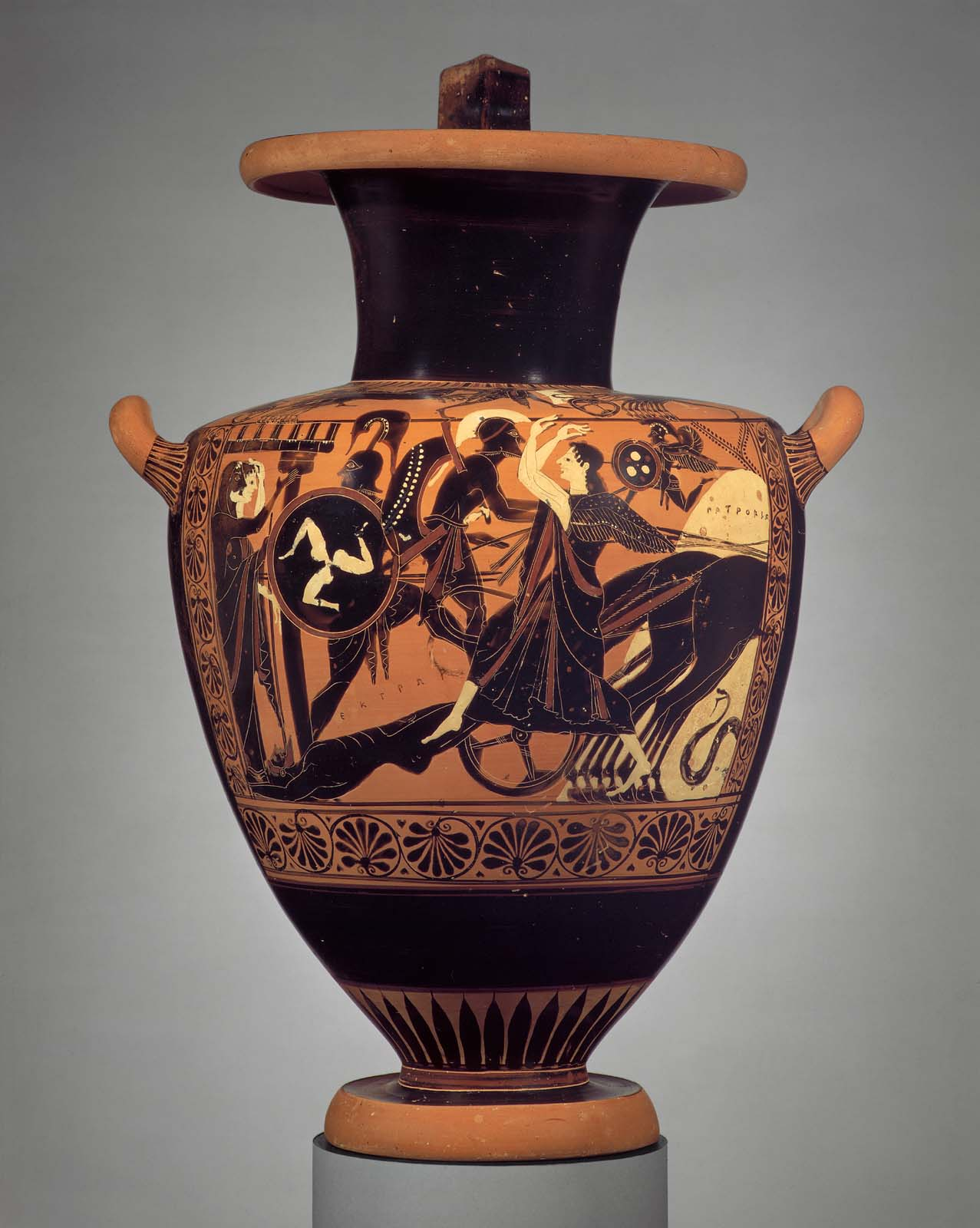 Figure 7: Achilles (the figure stepping into the chariot, holding a shield) drags Hector.