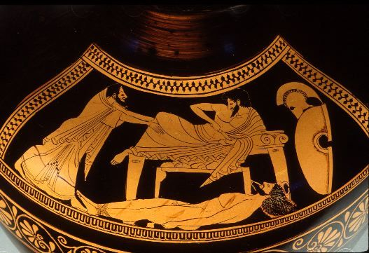 Figure 8: Priam (left) begs Achilles (reclining center) to return his son's body (Hector, lying on the ground with bloody wounds and the thongs used to drag his body). Achilles is still a hero of anger: he is about to draw his weapon, even as Priam grasps his knees in supplication.