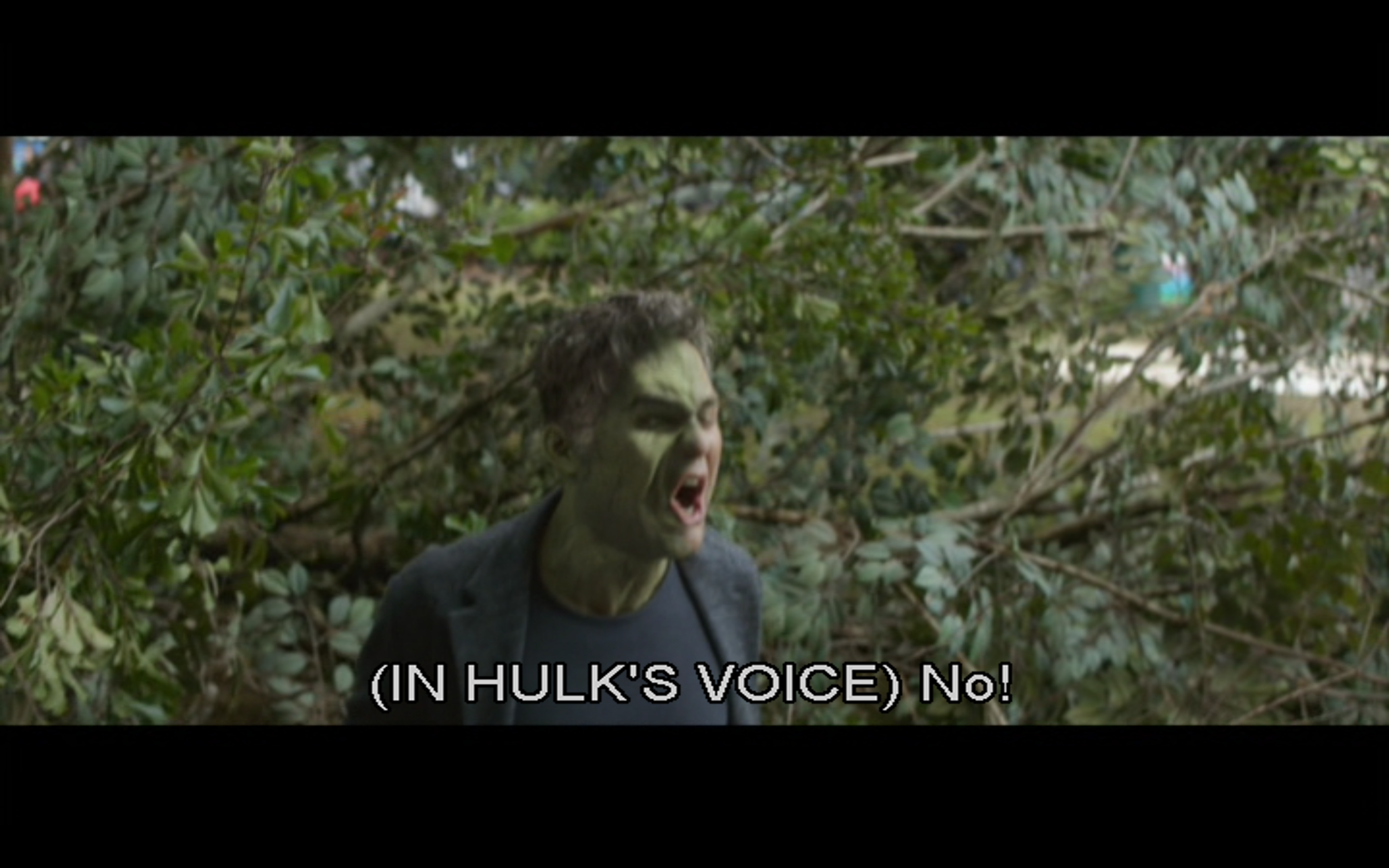 Figure 8: Banner tries to get Hulk to the fore to fight Thanos' forces in  Avengers: Infinity War , to no avail.