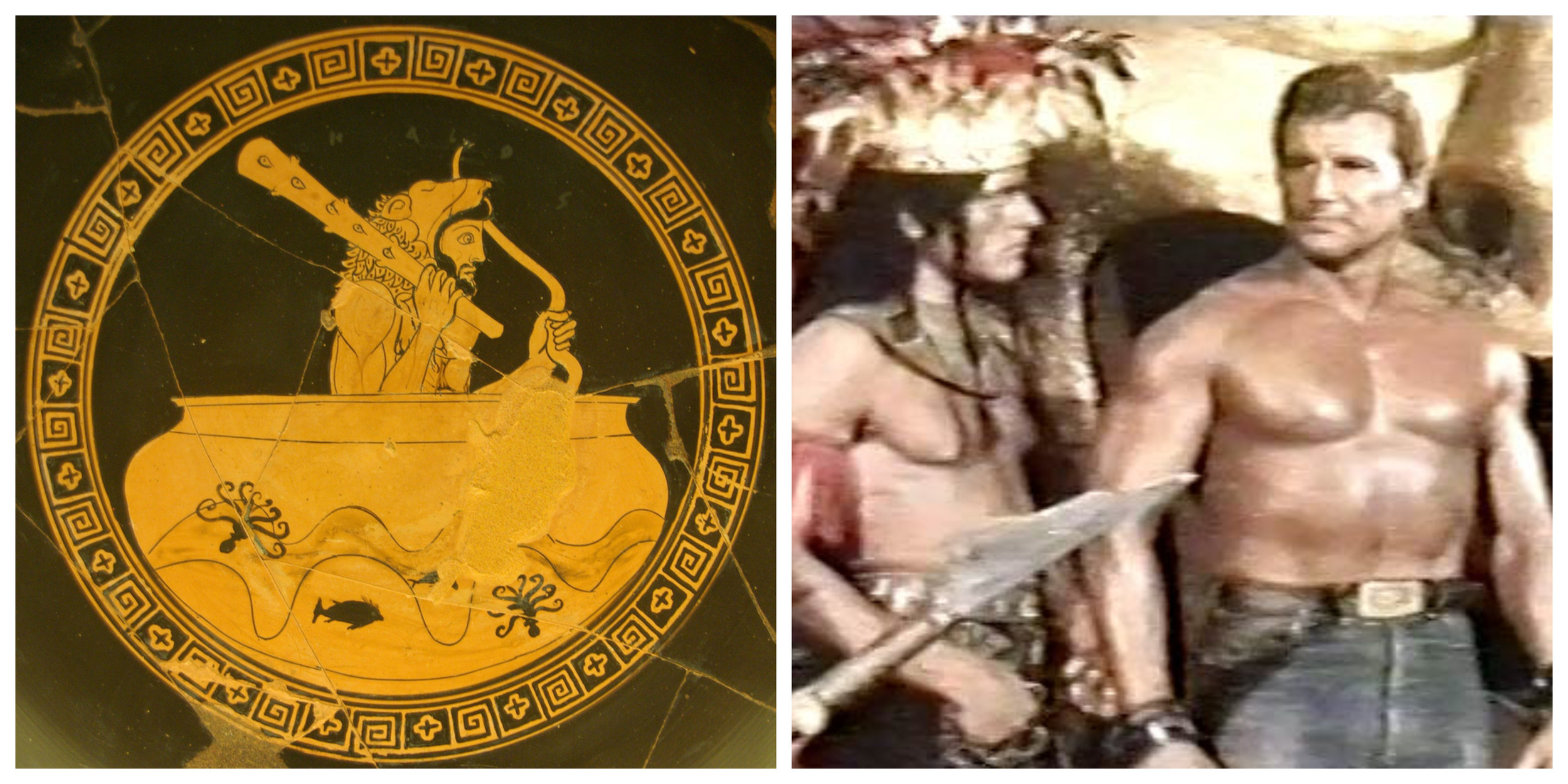 Figure 2: On the left, Hercules sails to Spain in the god Helios' cup; on the right, Hercules faces Aztec warriors in  Hercules Against the Sons of the Sun  (Civirani 1964).