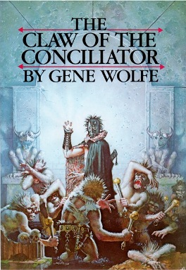Figure 1: Another of Gene Wolfe's heralded works, the Urth of the New Sun tetralogy, combines elements from science fiction (the story happens in the far future and depicts space travel) and from fantasy elements (the Claw of the Conciliator, depicted in Don Maitz's painting for the cover of the second entry in the series,  The Claw of the Conciliator  (1981). The Claw has mysterious healing abilities--at one point, bringing a dead soldier back to life.