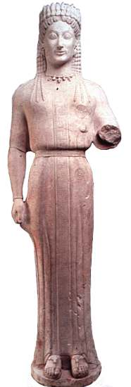 """Figure 3: A  kore  (""""maiden"""") statue, called the Phrasiklea Kore, sculpted in the mid-sixth century B.C. in Athens. This sculpture might have been a model for Harrison's cover illustration: note the round plinth that supports the piece as well as the angle of the left arm, which comes down to us broken at the elbow but which probably held a small gift."""