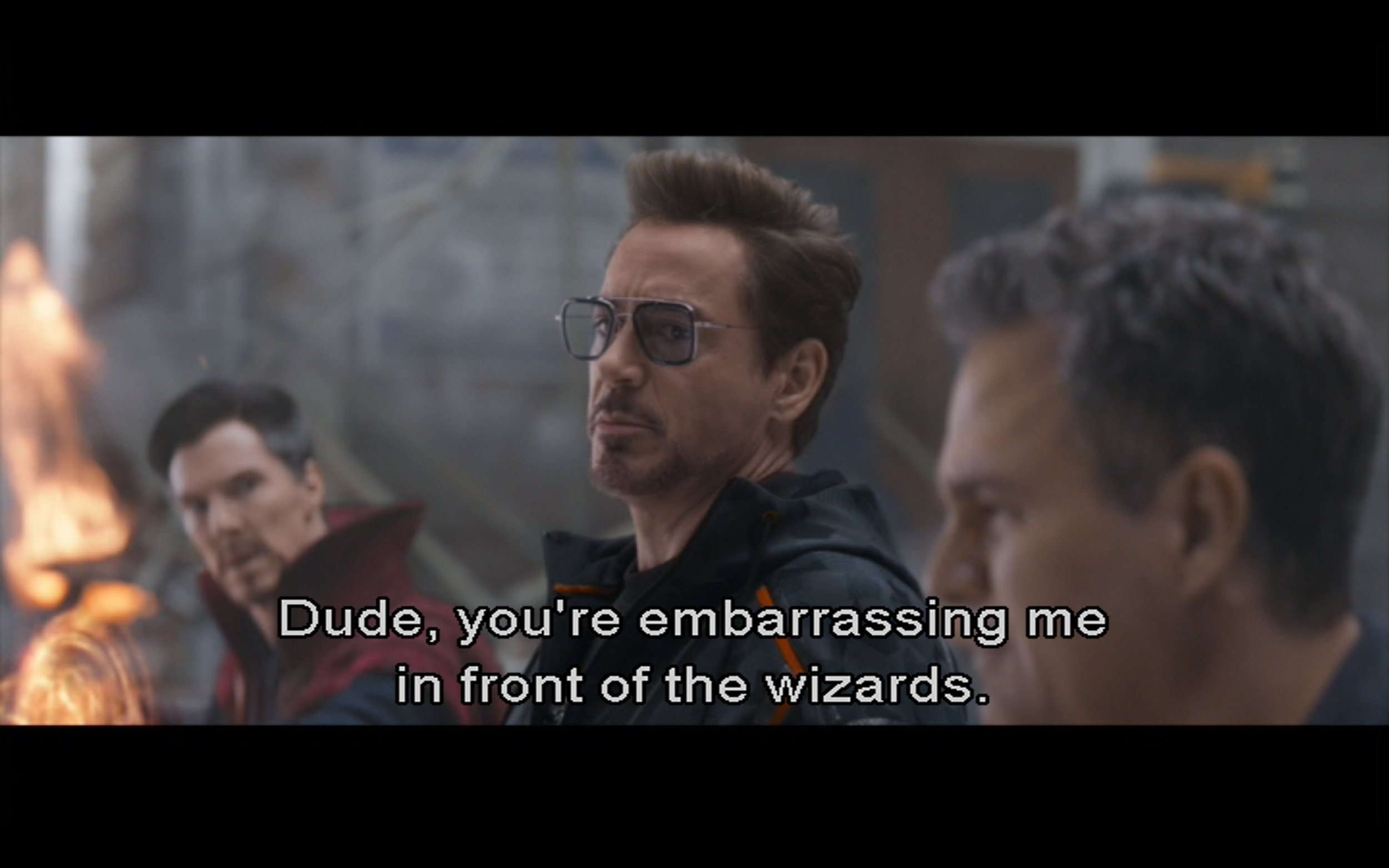 Figure 6: Tony Stark snarks to Bruce Banner about the arrival of Thanos' lieutenants to take the Time Stone from Dr. Strange in  Avengers: Infinity War  (Russos 2018), Marvel Studios/Walt Disney Studios Motion Pictures.