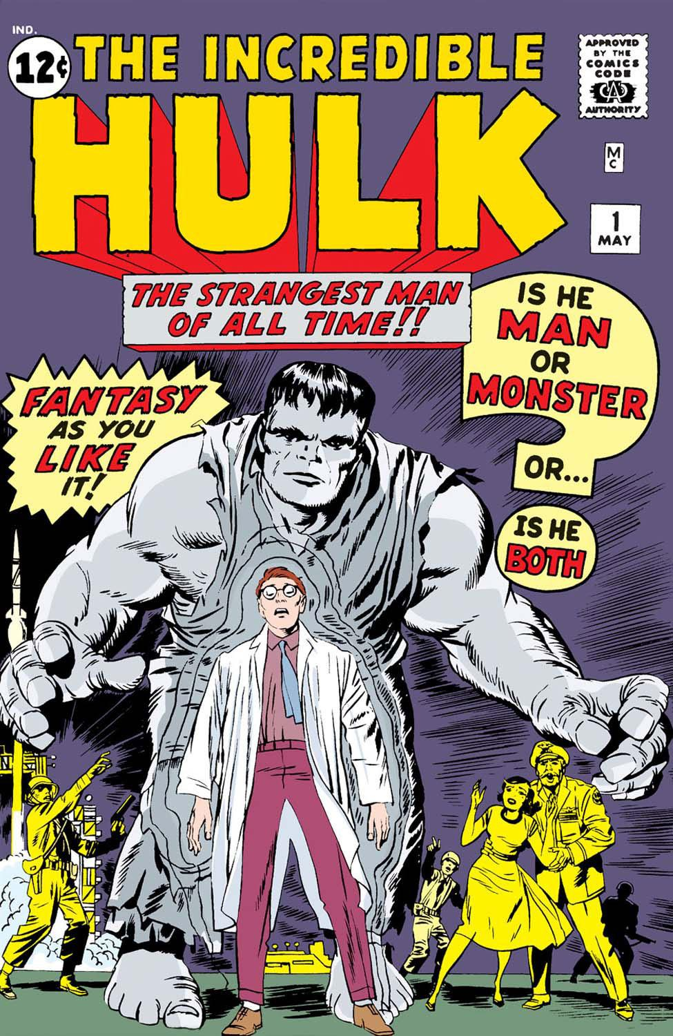Figure 1: The cover of  The Incredible Hulk  #1 (1962) illustrates both the human identity Dr. Bruce Banner (in clothing that identifies his story as scientific) and the monstrous identity Hulk. In his first appearances, artists colored Hulk grey, a color scheme that alluding to the black-and-white dual identity of the inspiration, the (science fiction) 1866 novella  Strange Case of Dr. Jekyll and Mr. Hyde . Marvel Comics.