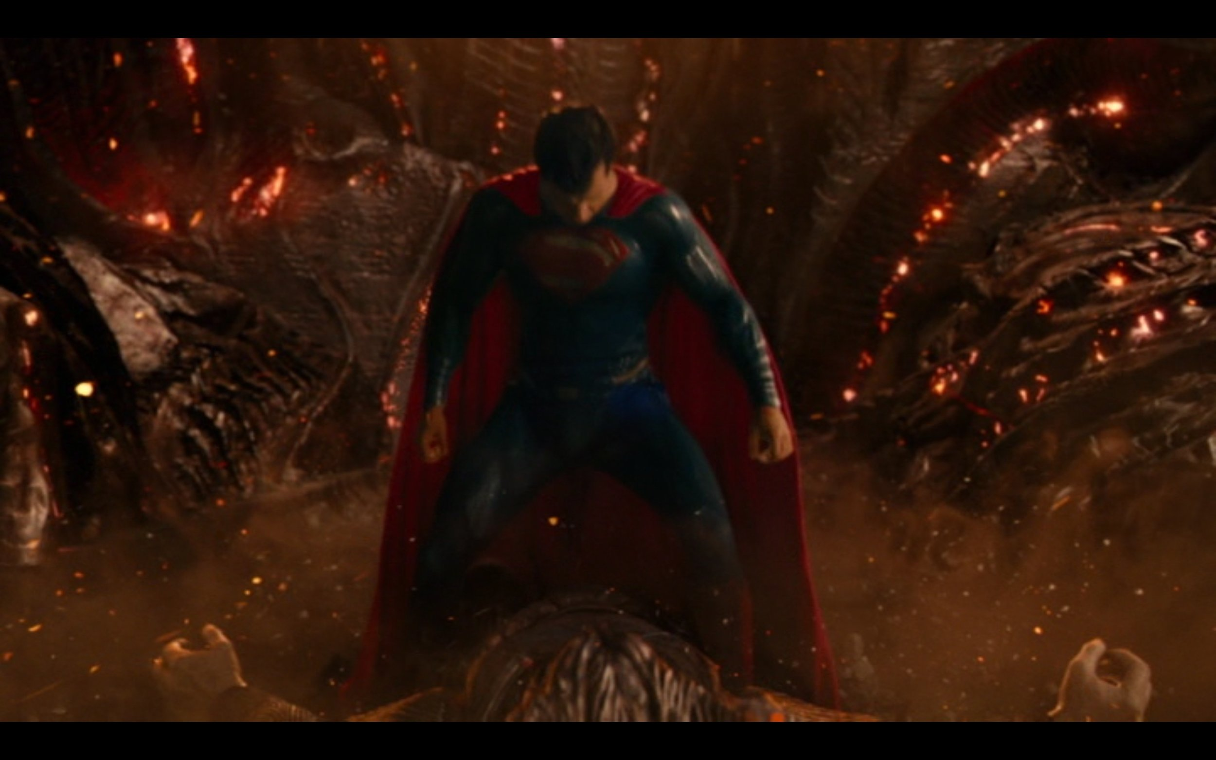 "Figure 5: ""Is this guy still bothering you?"" Superman joins the rest of the Justice League in battle against the extraterrestrial threat Steppenwolf.  Justice League  (Snyder 2017): DC Films/RatPac Entertainment/Atlas Entertainment/Cruel and Unusual Films/Warner Bros. Pictures."