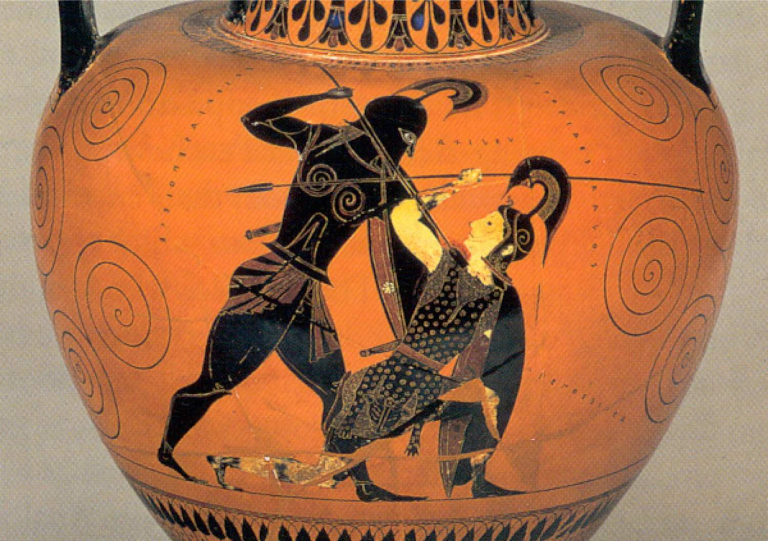 Figure 3: Achilles' spear pierces Penthesilea's chest as the Amazon pleads for her life on an ancient Greek amphora from the sixth-century BCE. Credit: Wikimedia.
