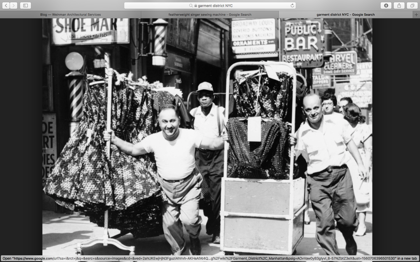 This is old world Garment district probably when my machine was used!