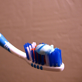 Adult-sized portion of toothpaste.