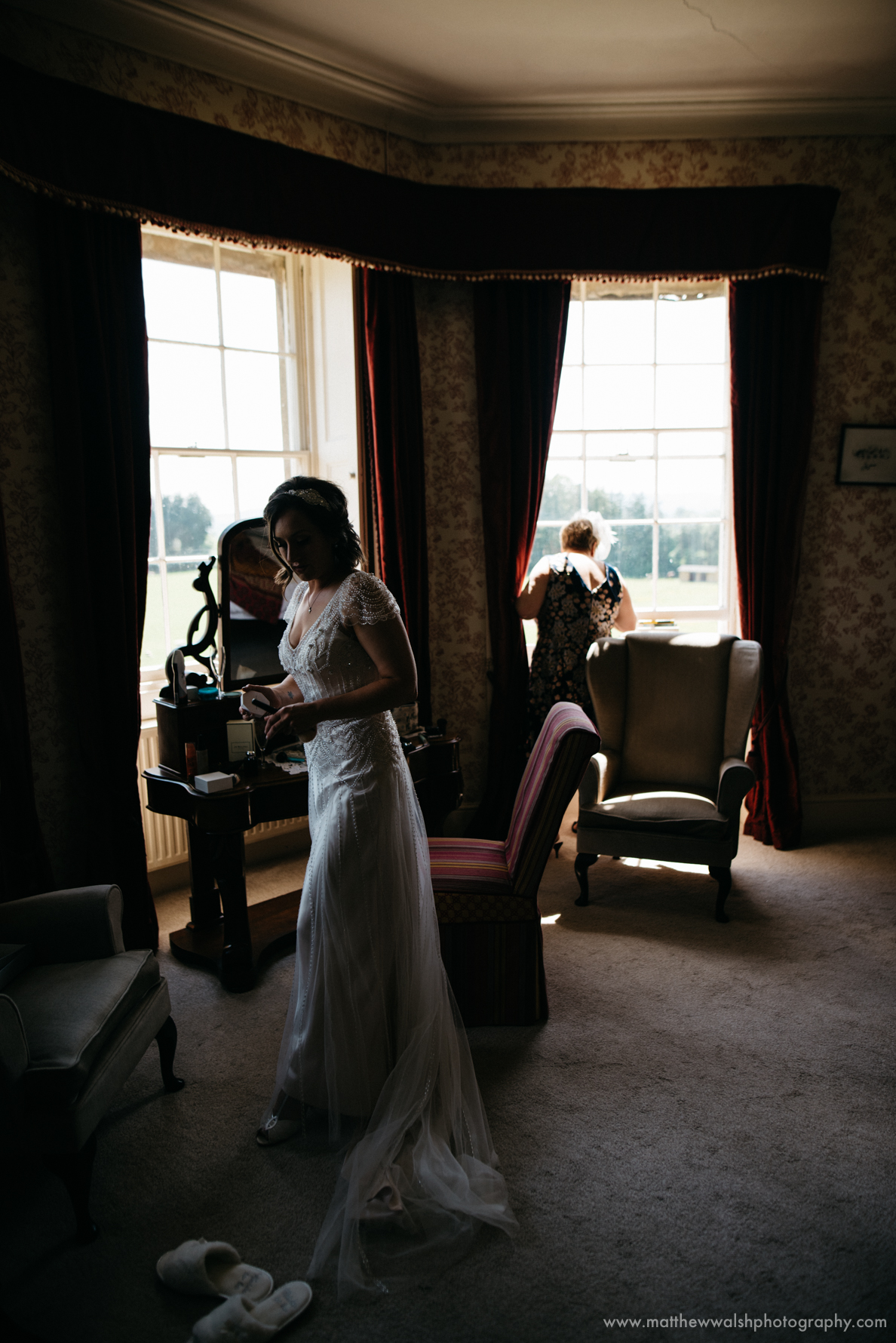Natural light floods through the windows of the bridal suite