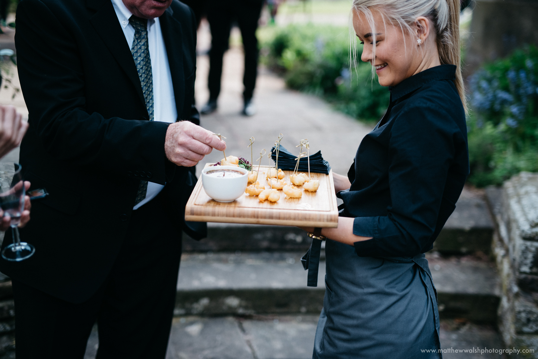 Canapés being served to hungry guests