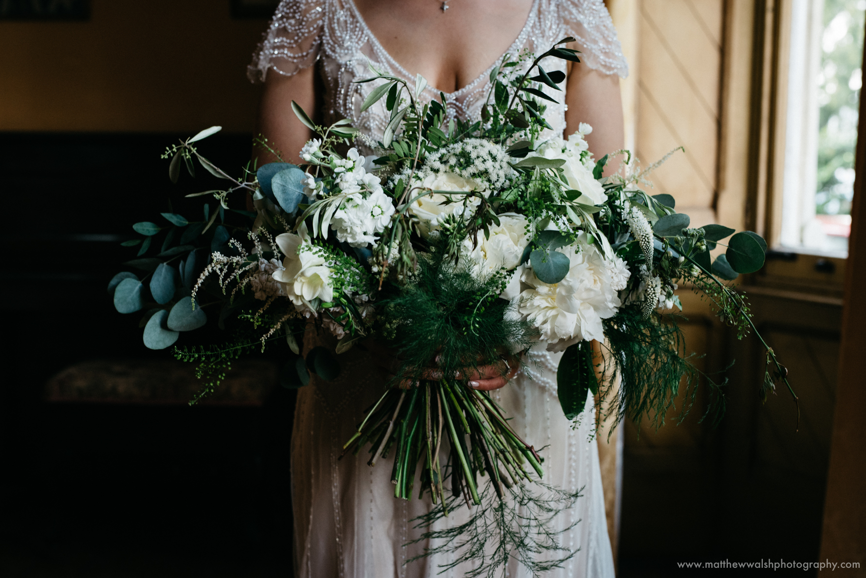 Bride holding her awesome flowers