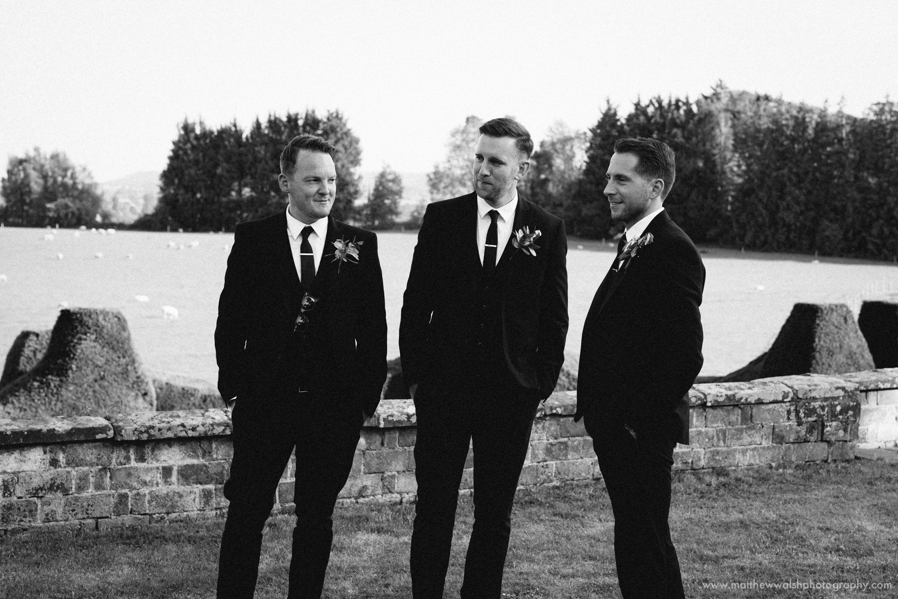 Unposed groomsmen