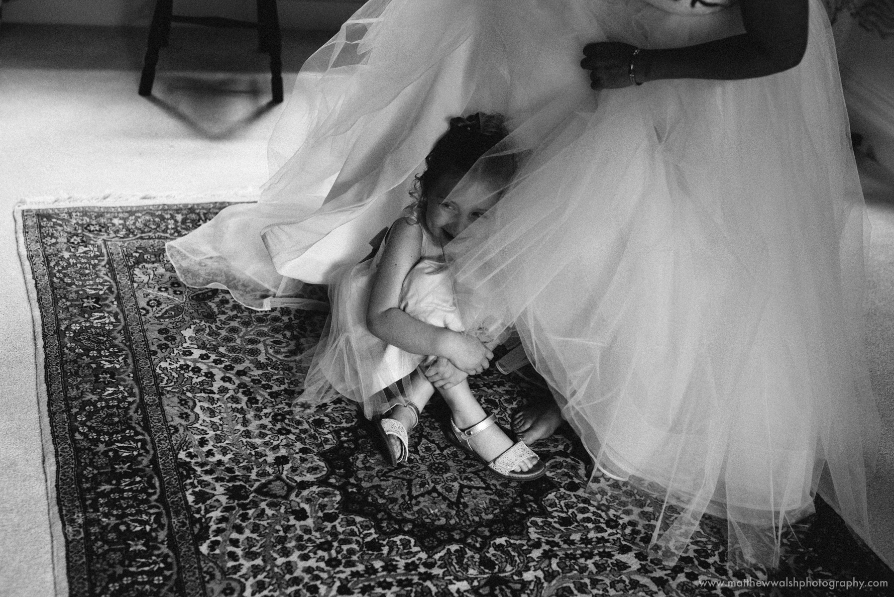Observed moment of the Flower girl hiding under the wedding dress