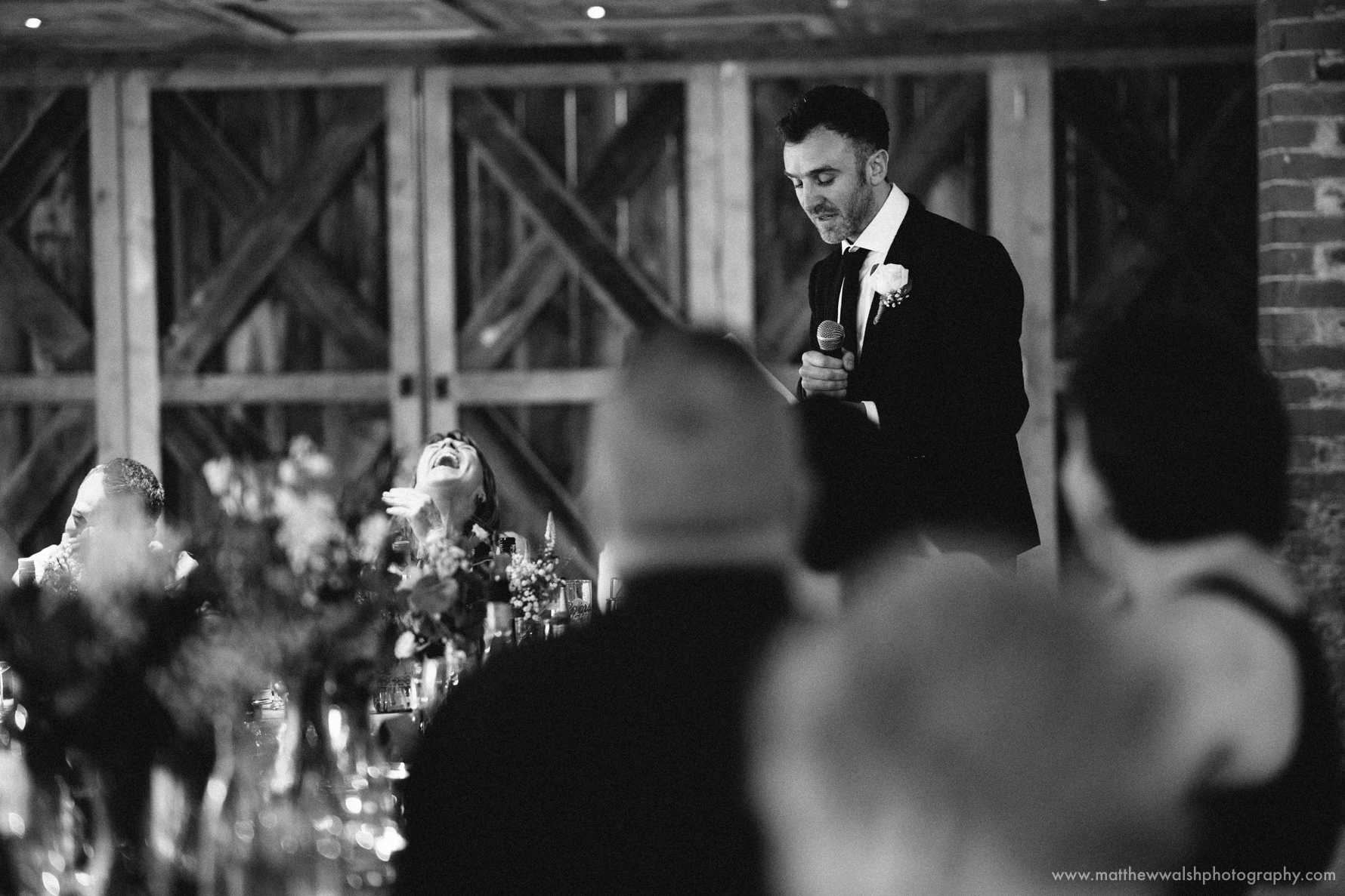 Best man making his extremely funny speech