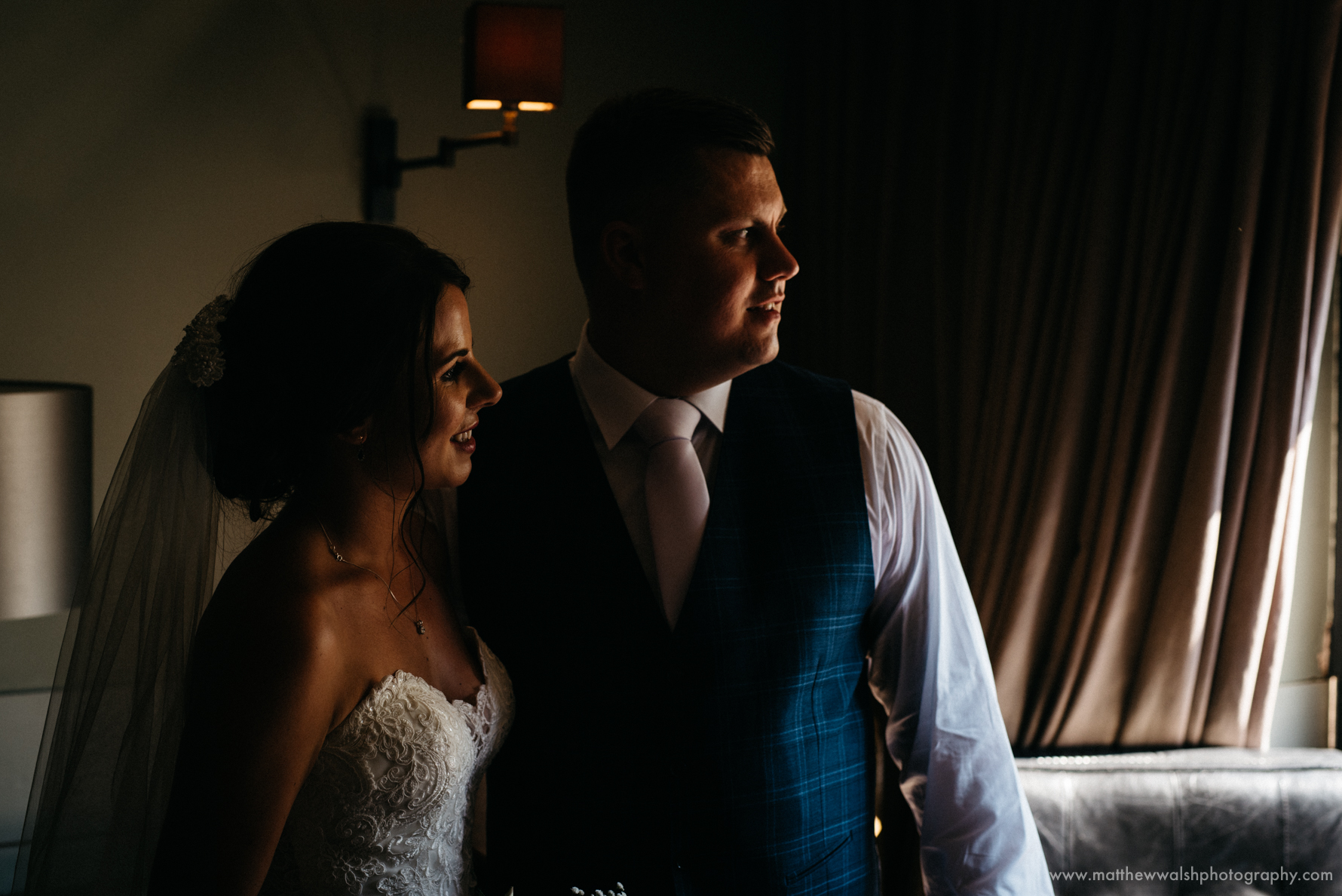 The happy couple in the glow of natural light
