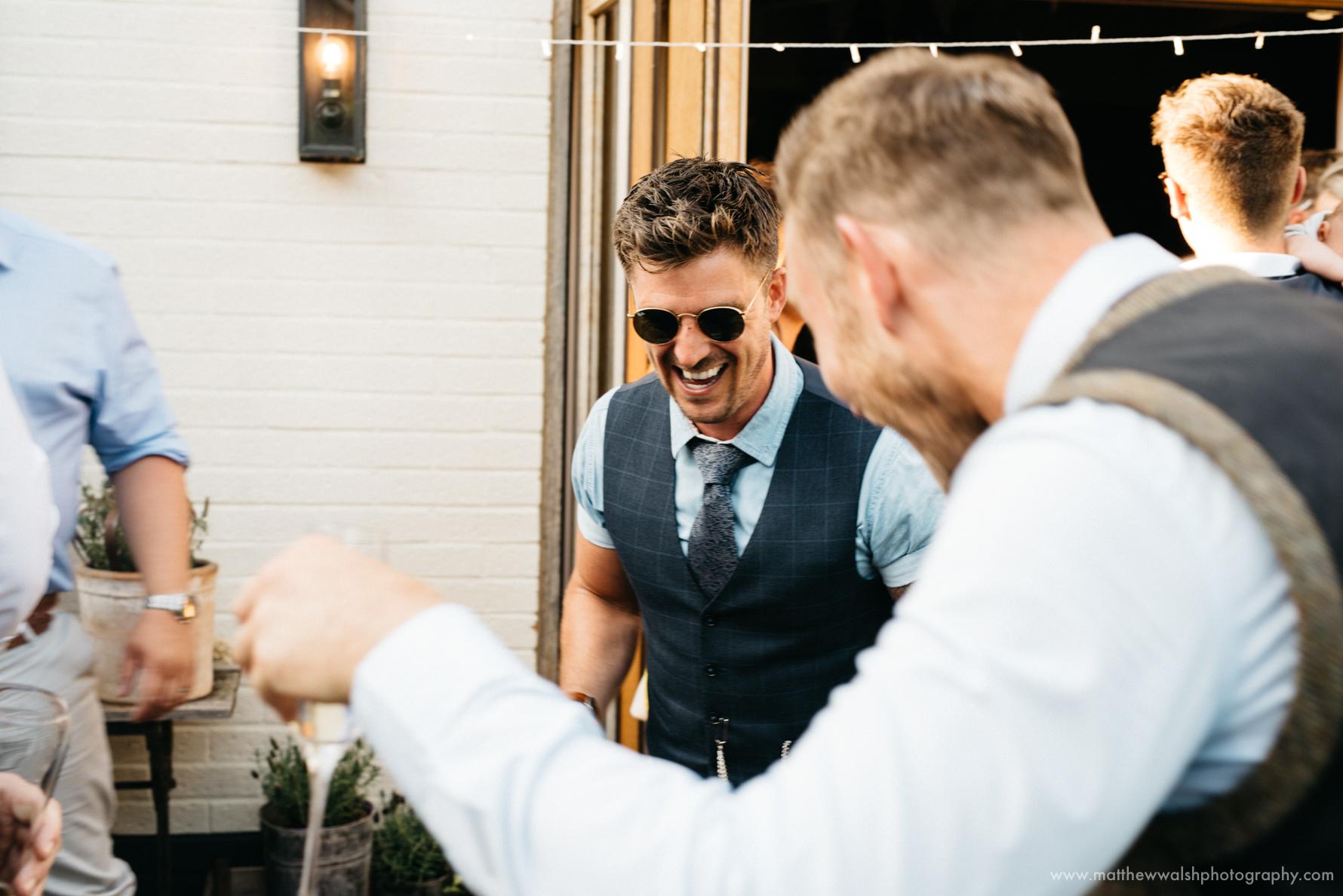 Friends having a laugh dancing