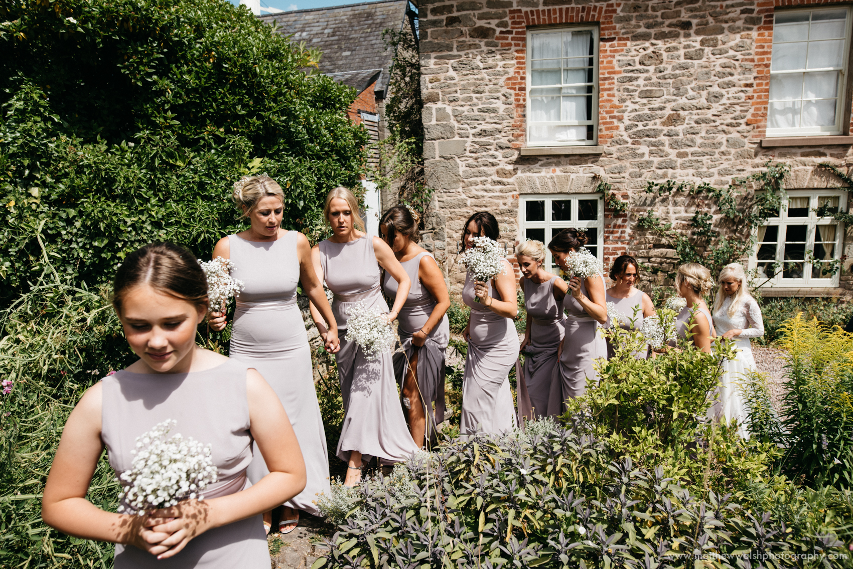 A long line of bridesmaids prepare to walk through the rose gardens