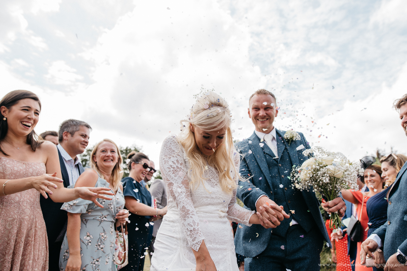 A beautiful confetti moment at Lyde Court in Herefordshire