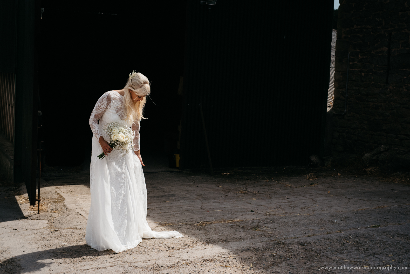 The bride captured in an observed pocket of light