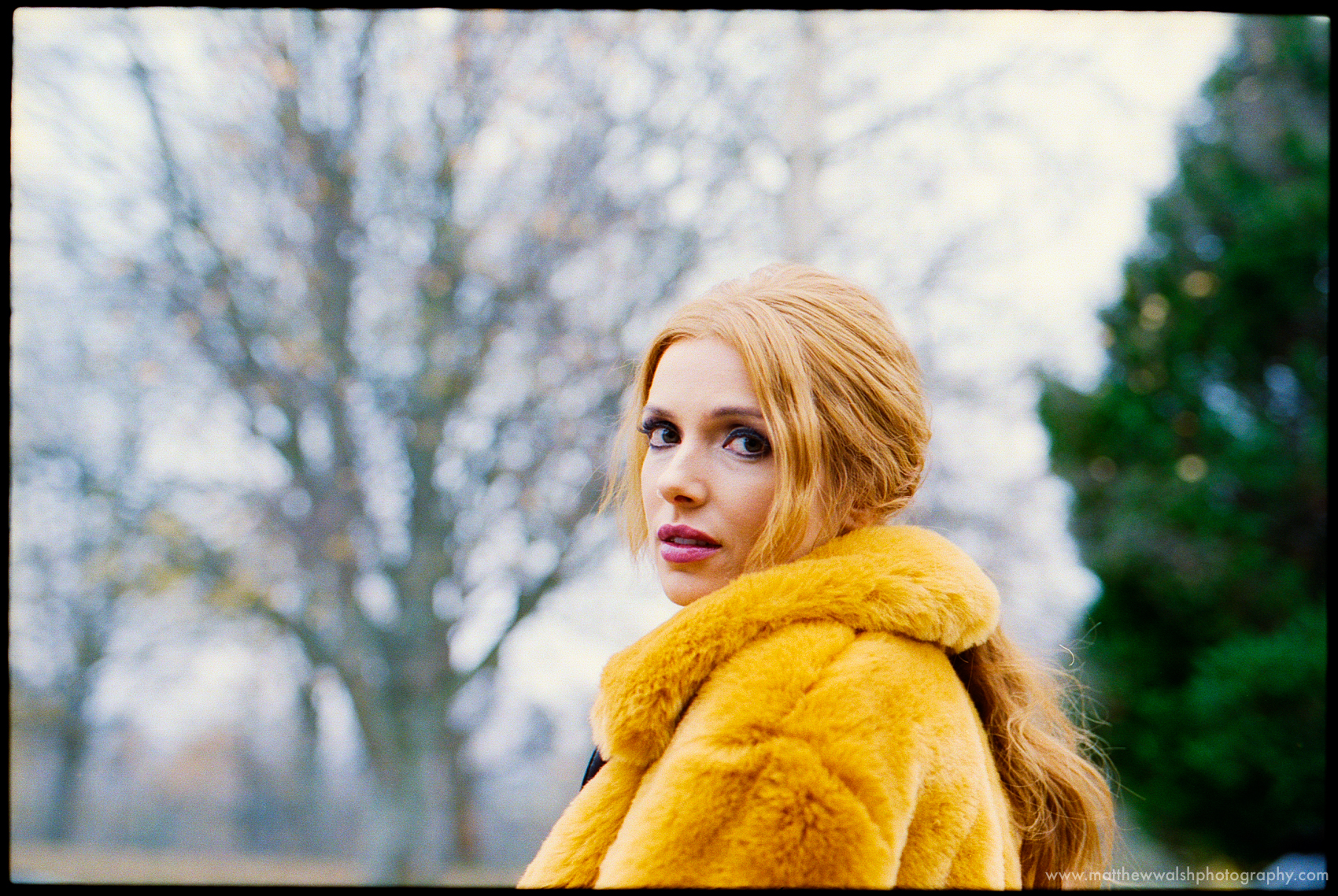 The model put on her own coat to keep warm I just knew the  colour would look great on Kodak Portra 400