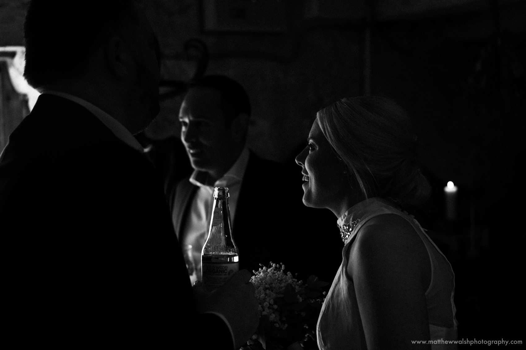 Bride in black and white in the natural window light