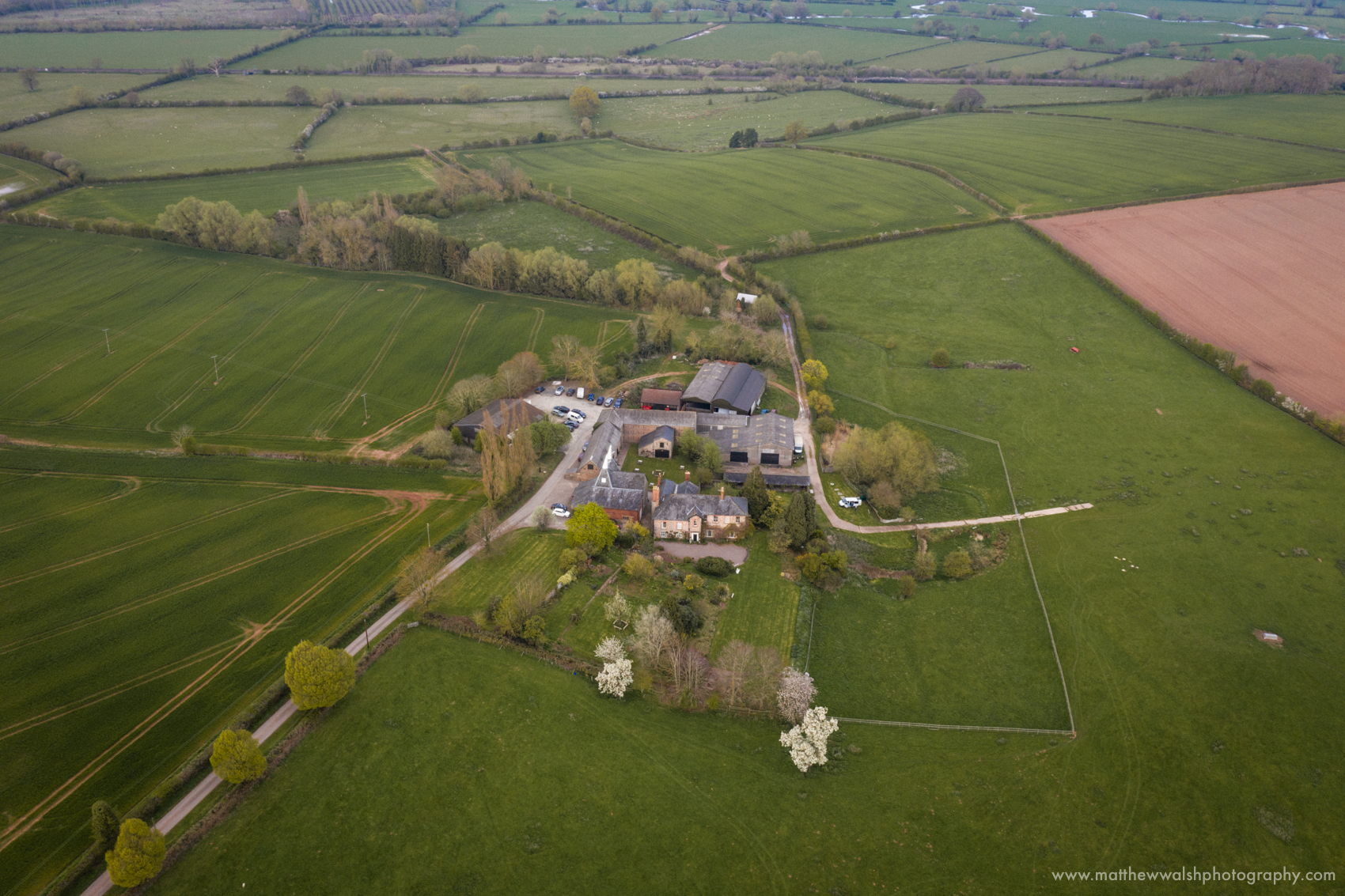 A closing shot of Lyde Court taken from the air