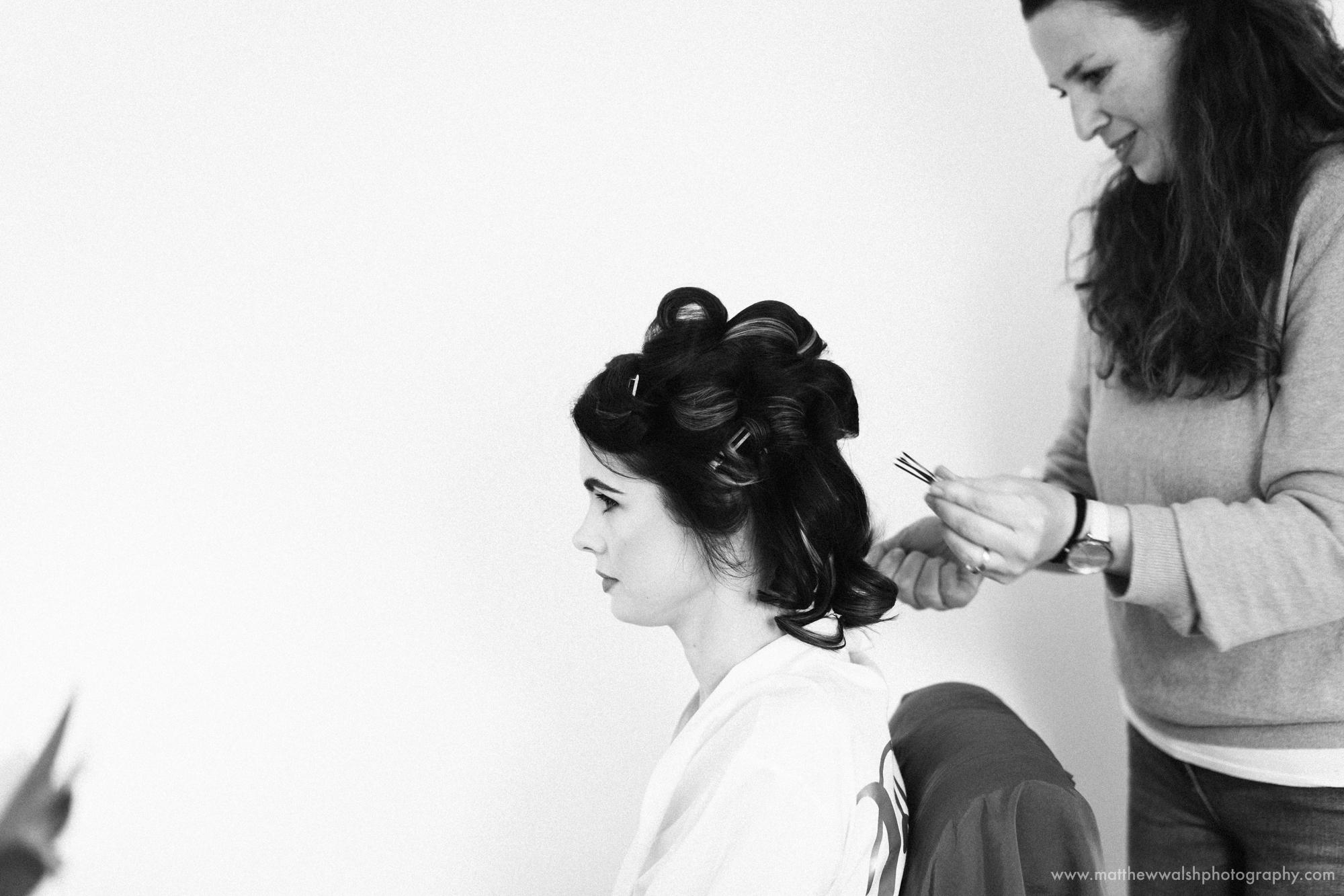 The bride has her hair done by Tabitha MacCurrach-Paine Hair