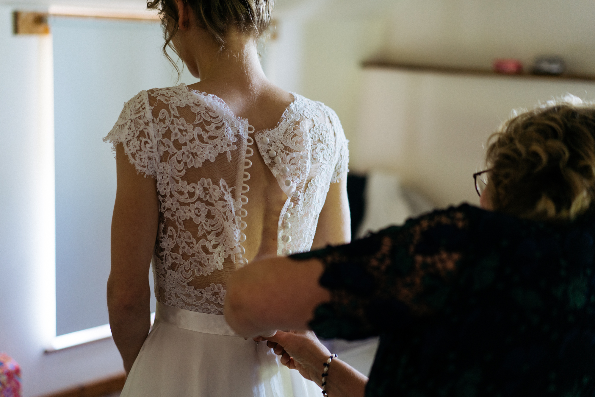 Putting the dress on
