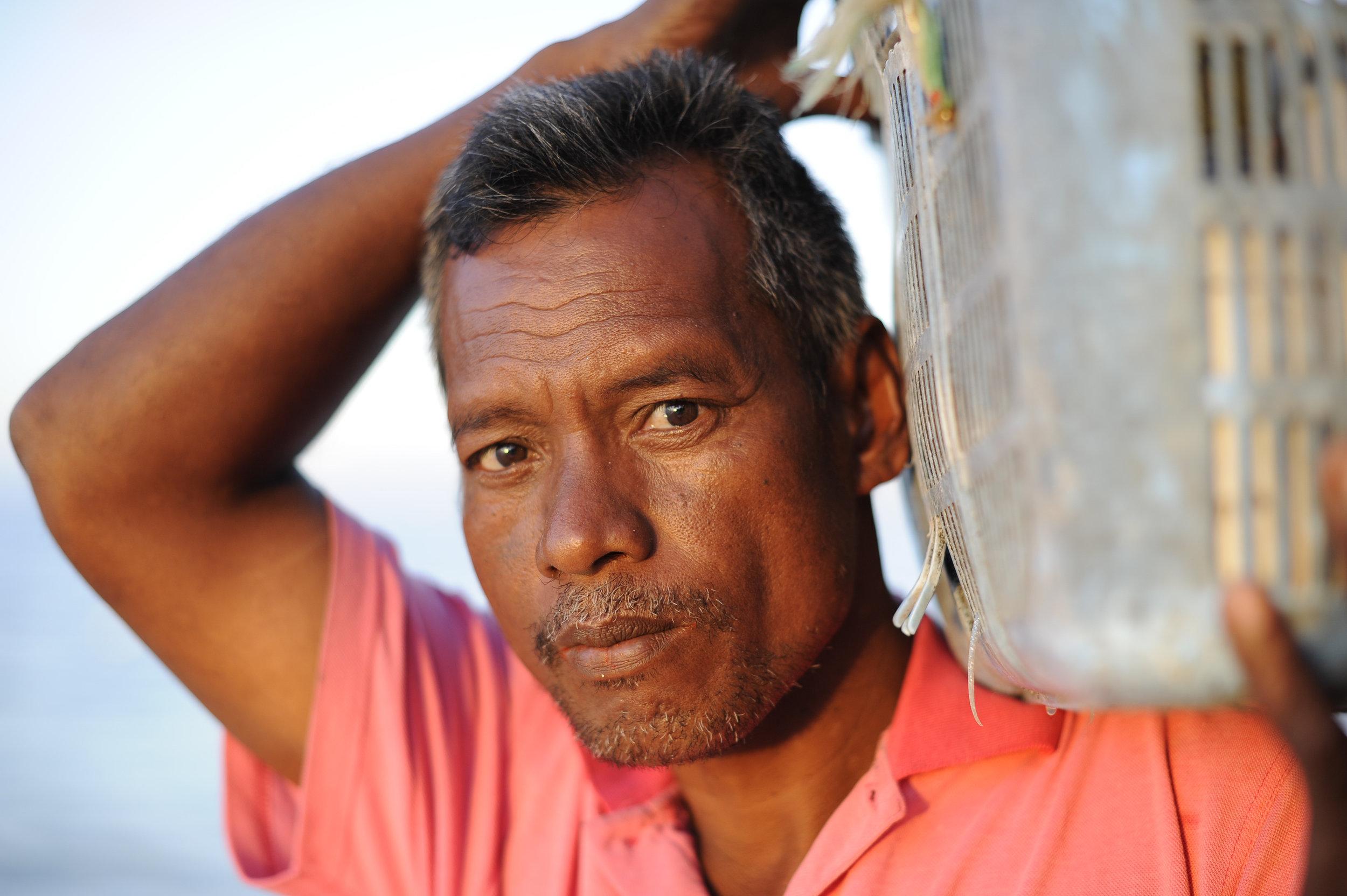 Fisherman  Oscar Sitau, Solomon Islands for Oxfam Australia.