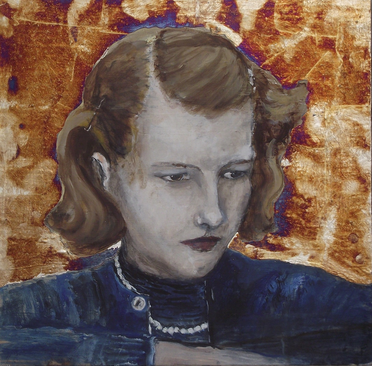 Marcia - Oil and silver leaf on board - NFS