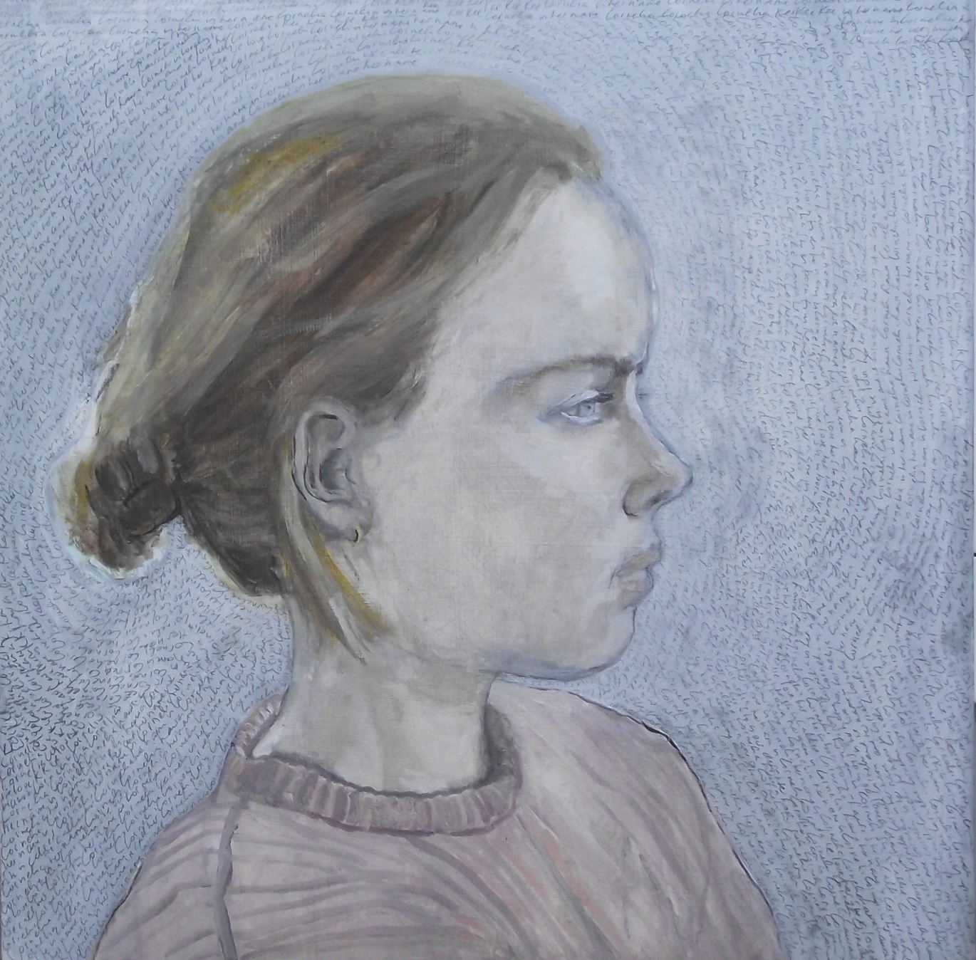 Her name is Cornelia - Oil and pencil on board - NFS
