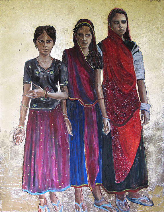 Gujarat girls - Oil and silver leaf on canvas - Sold