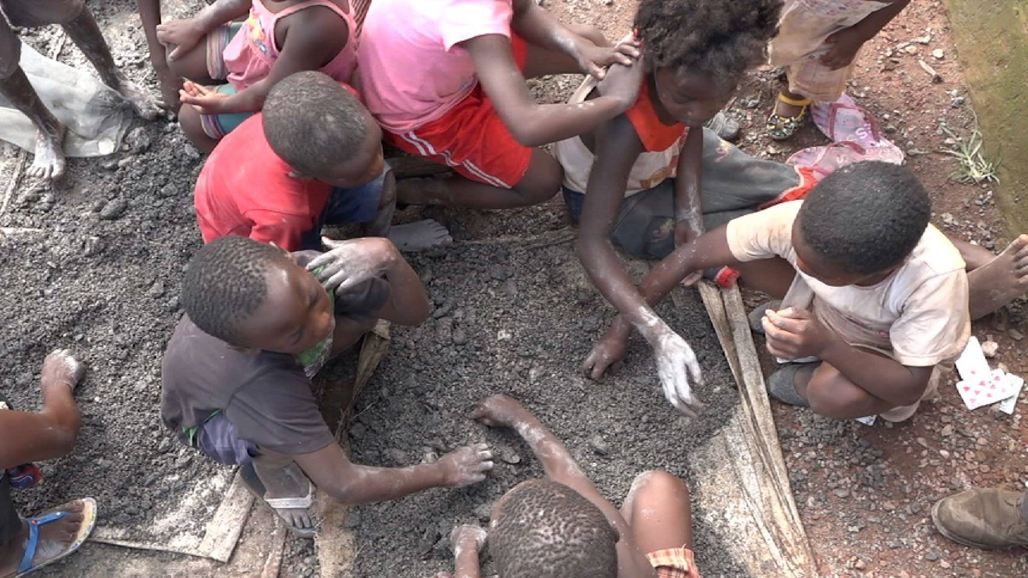Children as young as four work in the cobalt mines -- source: Sky News