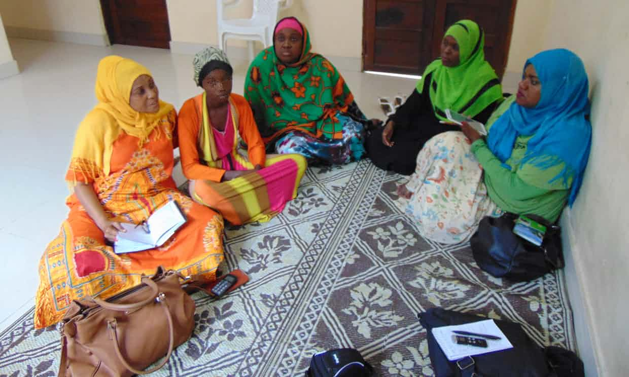 Girls and women at a trafficking shelter in Zanzibar. Photograph: Rebecca Grant