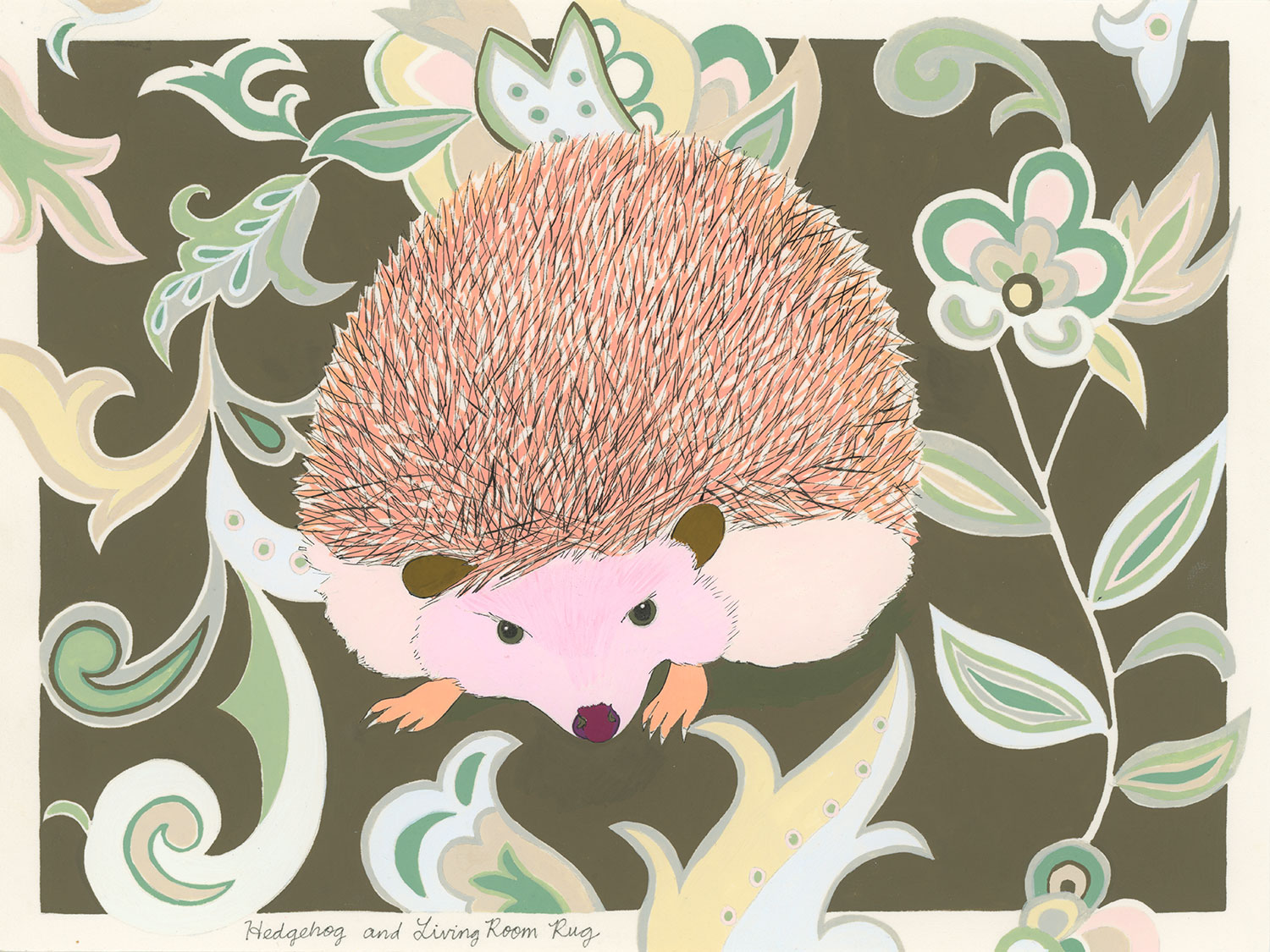 Hedgehog and Living Room Rug (in advance of being sat on by a cat)