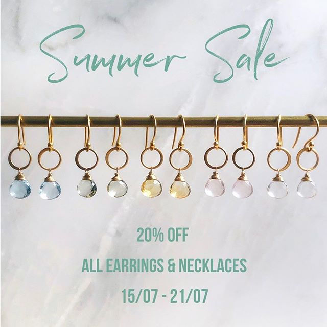 Get ready! My summer sale starts tomorrow morning at 10AM with 20% off all earrings & necklaces for one week only ✨  #midesigns #madebymarissa #summersale #shopthesale #delicategemstonejewellery #delicategemstoneearrings #gemstones #freshwaterpearls #goldplated #madeinmarylebone