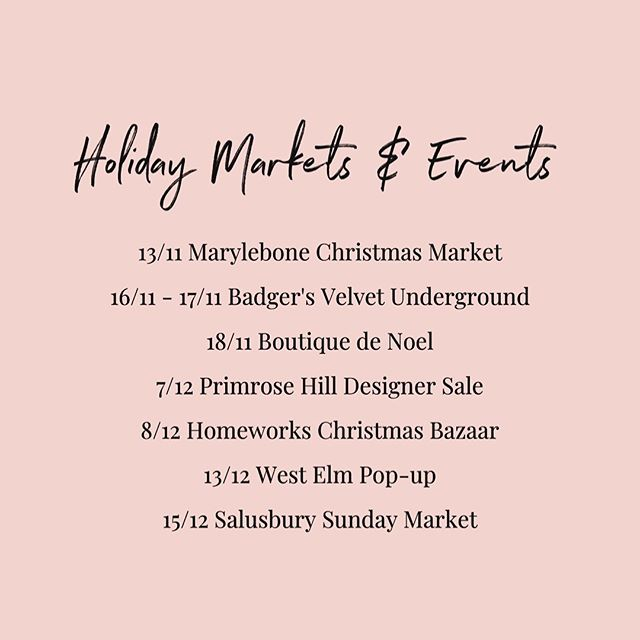 With the holidays just around the corner, my events calendar is quickly filling up so I thought I'd share a list of my committed date thus far!  Over the course of gifting season, you'll find me at the following markets & pop-ups:  13/11: @marylebonevillage Christmas Lights 16/11 - 17/11: @badgersvelvetundergound in Brixton 18/11: Boutique de Noel at Chelsea Town Hall 7/12: @primrosehilldesignersale at St. Mary's Church 8/12: @homeworks Christmas Bazaar  13/12: @westelm pop-up at Tottenham Court Road 15/12: @salusburysundaymarket  I'll be adding new events in the coming weeks so be sure to stay up-to-date with my latest whereabouts by subscribing to my newsletter and visiting the 'Upcoming Events' page on my website.  Hope to meet you all in person soon!  #marissairwindesigns #delicategemstonejewellery #londonartisan #londonpopups #londonmarkets #shoplocal #handmadeinlondon #gemstoneearrings #badgersvelvetunderground #departmentstorebrixton #primrosehilldesignersale #westelm #salusburysundaymarket #chelseatownhall