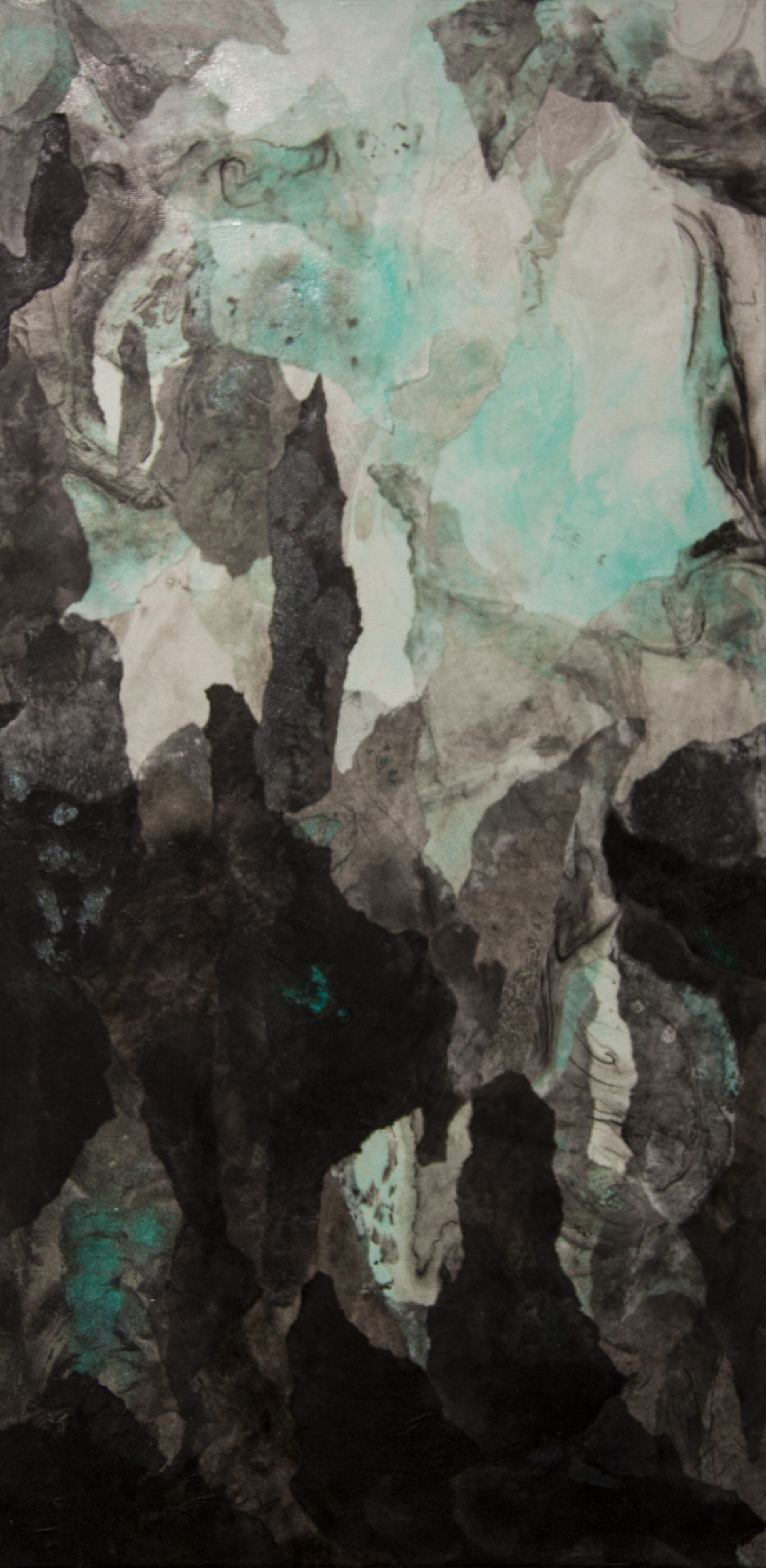 "Abstract Landscape (Teal),  2016, Acrylic ink, sumi ink, sumi-e paper, and gloss medium on canvas, 36"" x 18"""