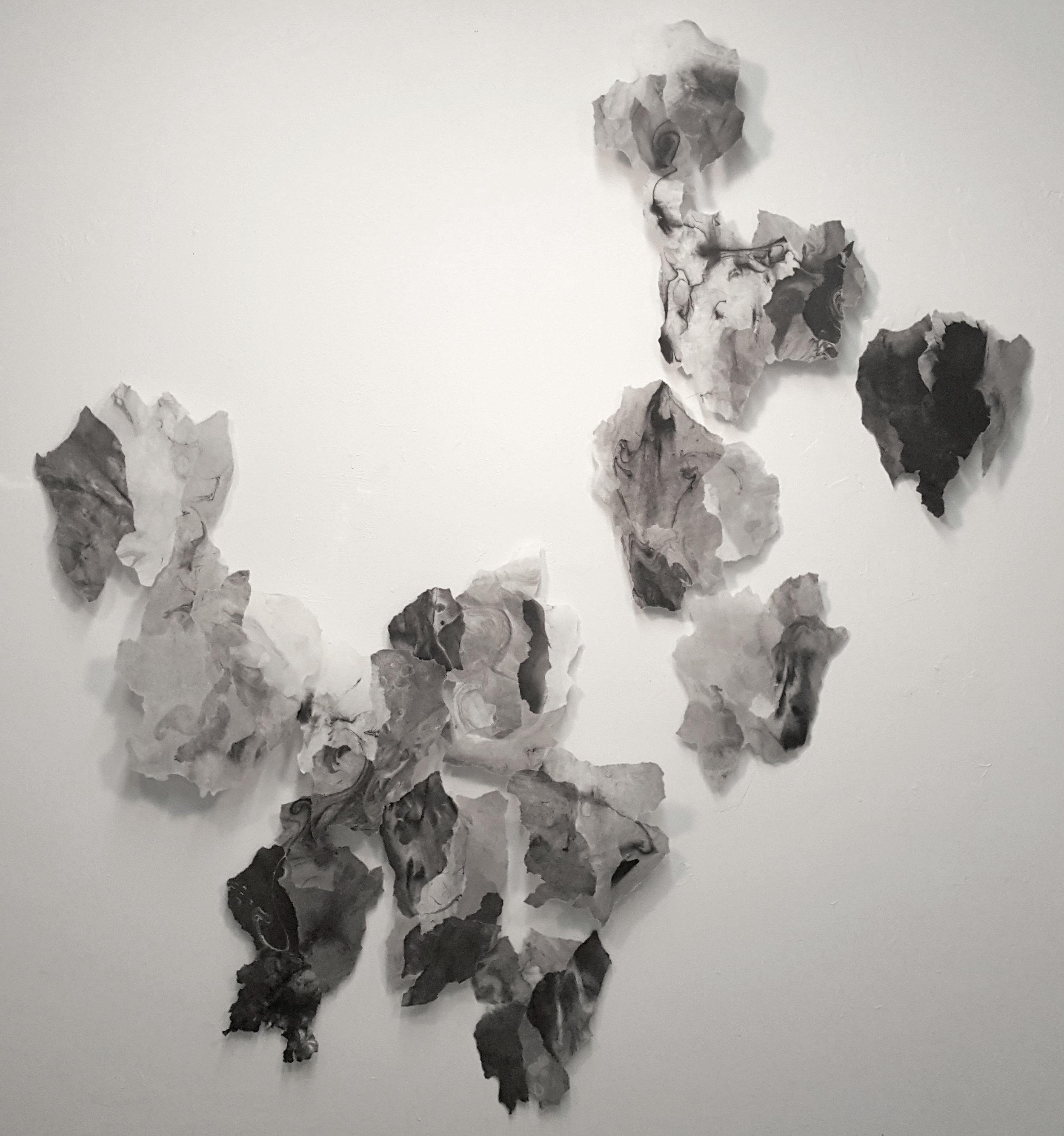 """Elusive , 2017, Sumi ink, rice paper and matte medium, 60"""" x 54"""""""