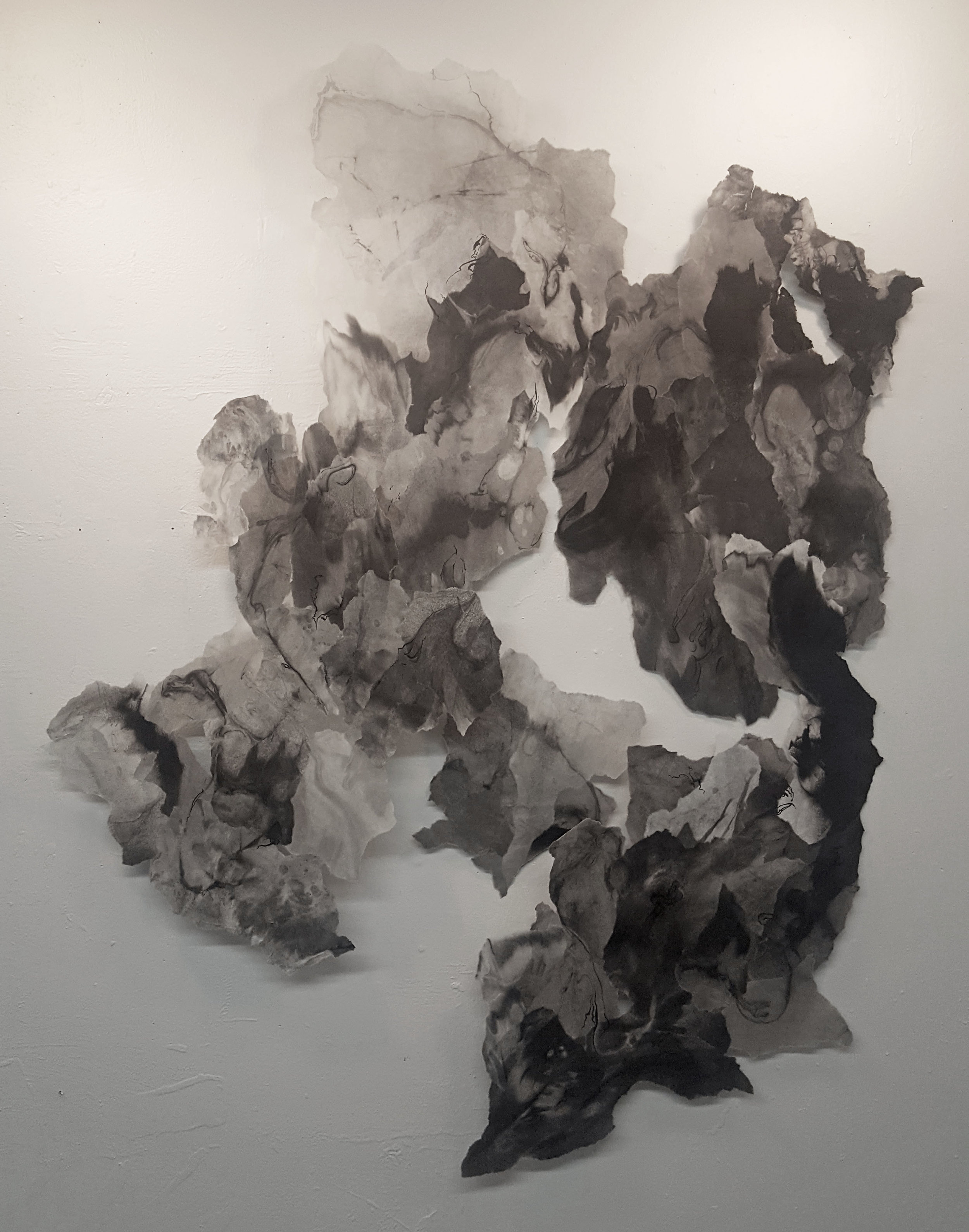 "Expanse, 2017, Sumi ink, india ink, rice paper and matte medium,  55"" x 68"""