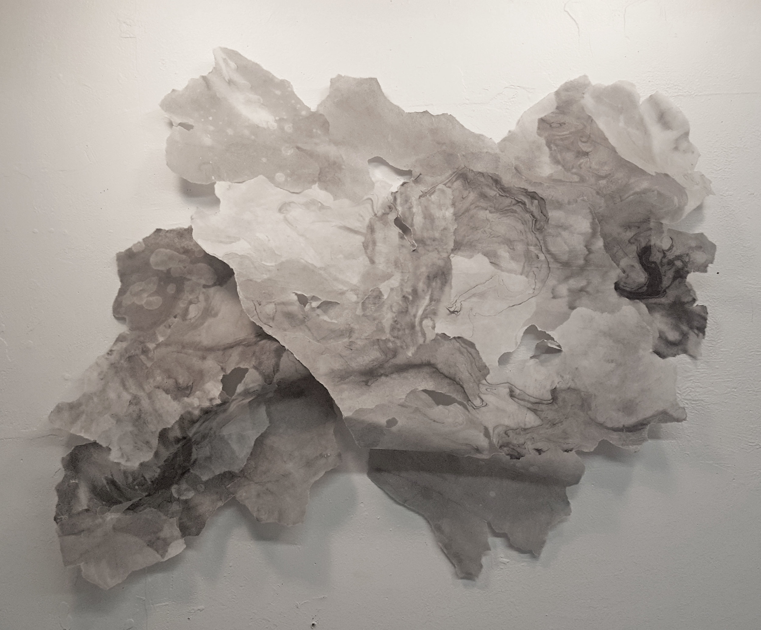 "Flow, 2017, Sumi ink, charcoal, rice paper and matte medium, 48"" x38"""