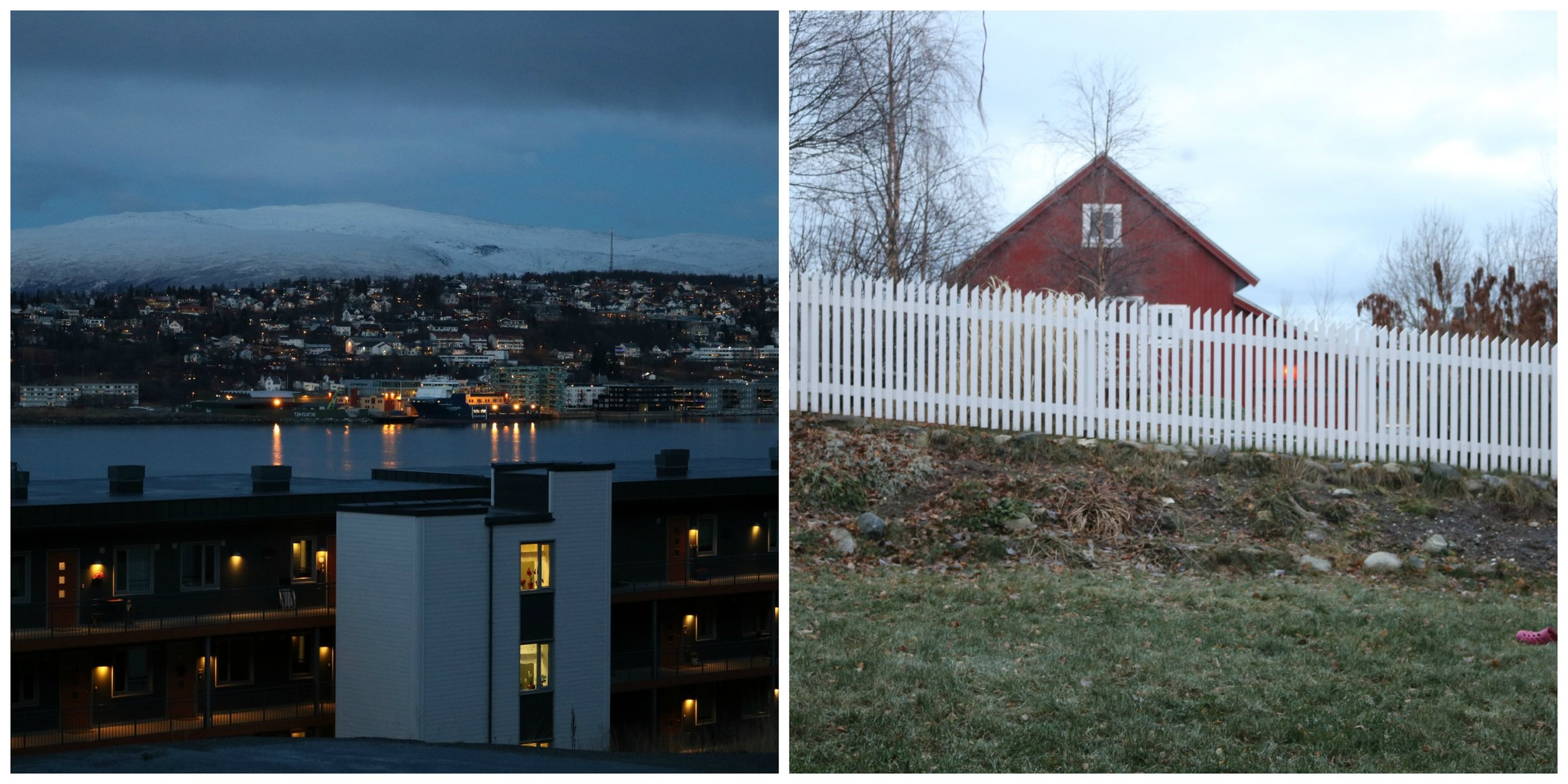 On the left:    Twilight which lasts from 9am to 10am and again from 1pm to 2pm. This time is also called the blue hour.     On the right:    Max. amount of daylight at 11.30am, basically like a grey and rainy autumn day.
