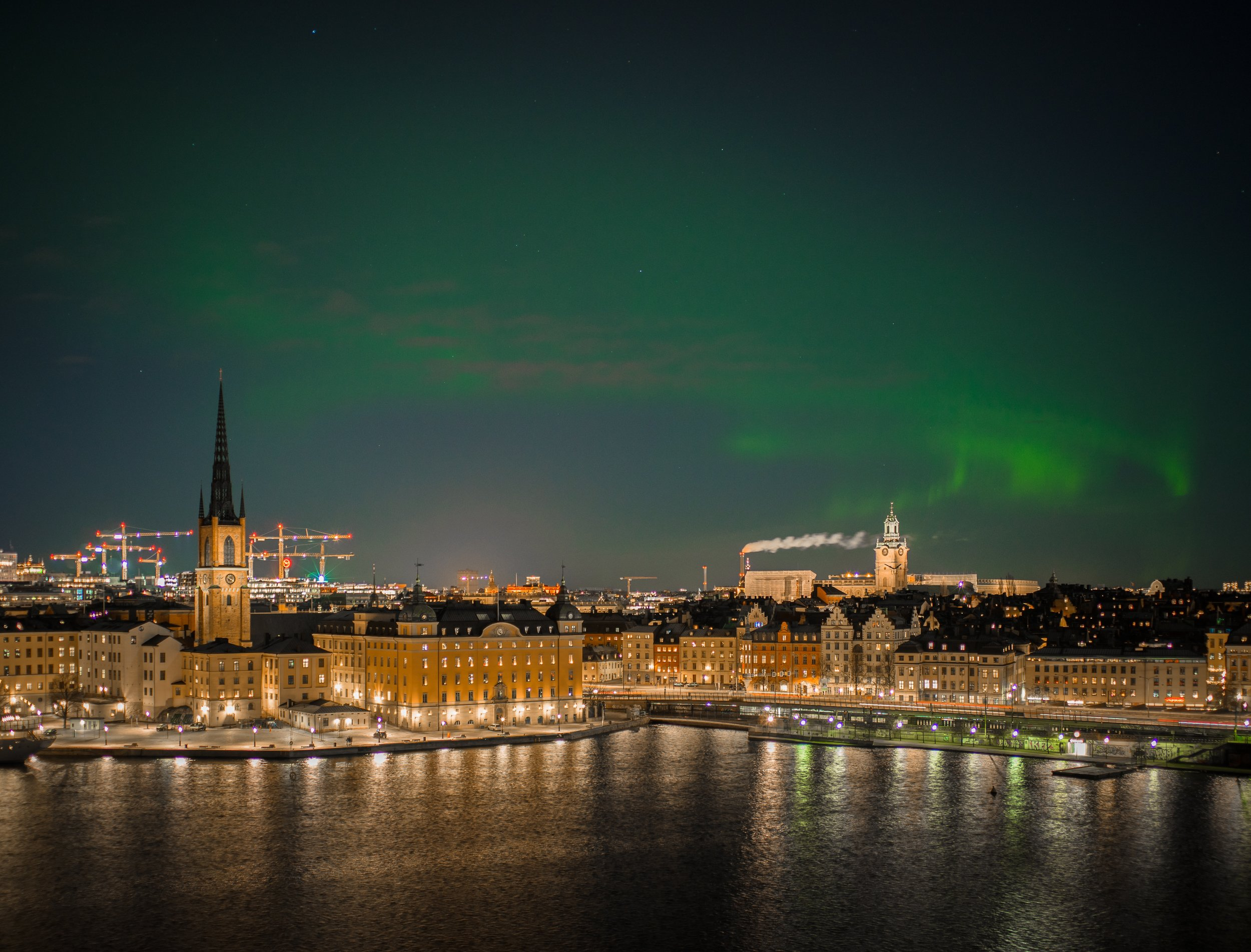 Northern Lights over Stockholm - it happens but you shouldn't visit in the hope of catching them!  Photo by Micael Widell