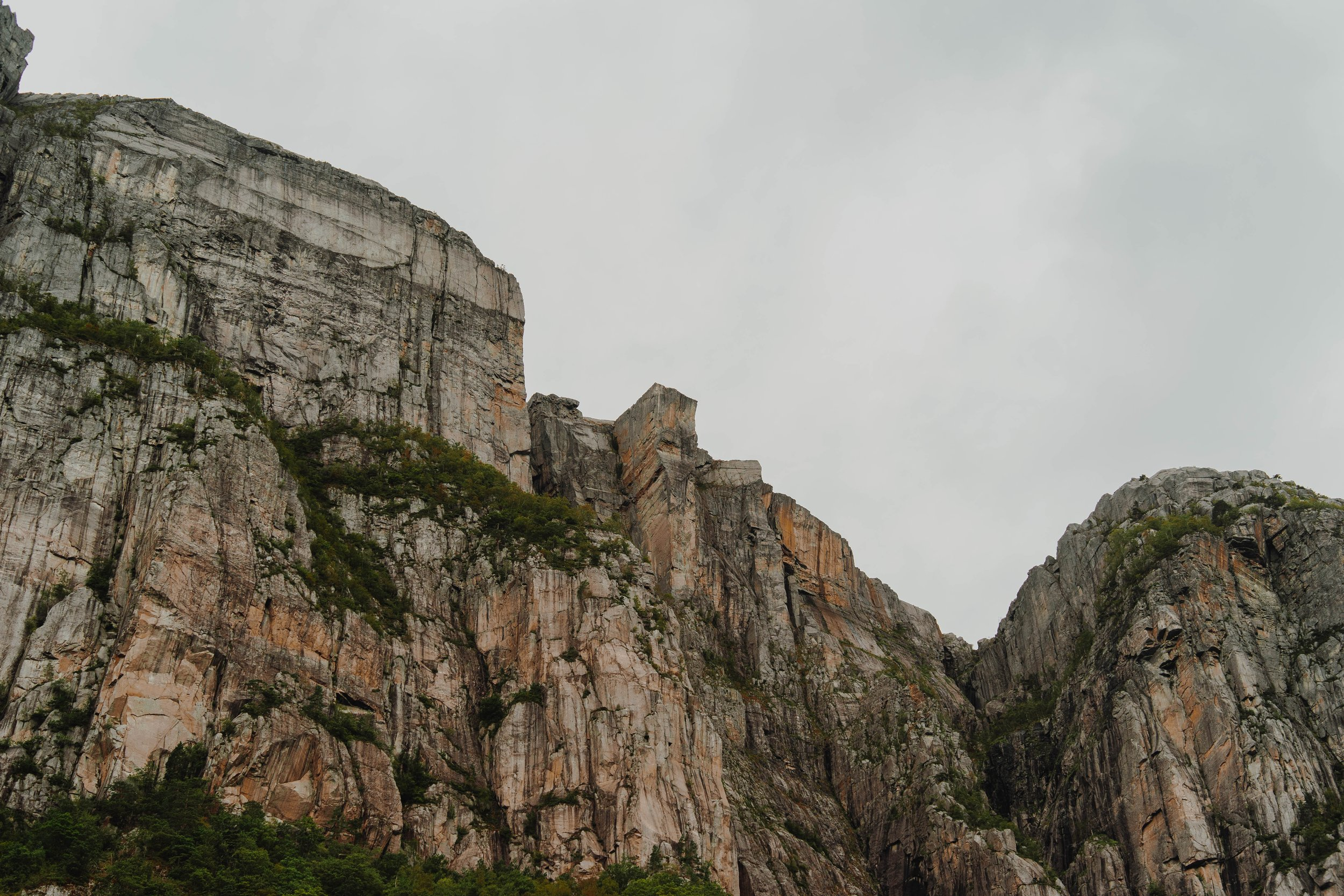 What a cloudy, non-foggy day looks like - Preikestolen as seen from the Lysefjord ferry