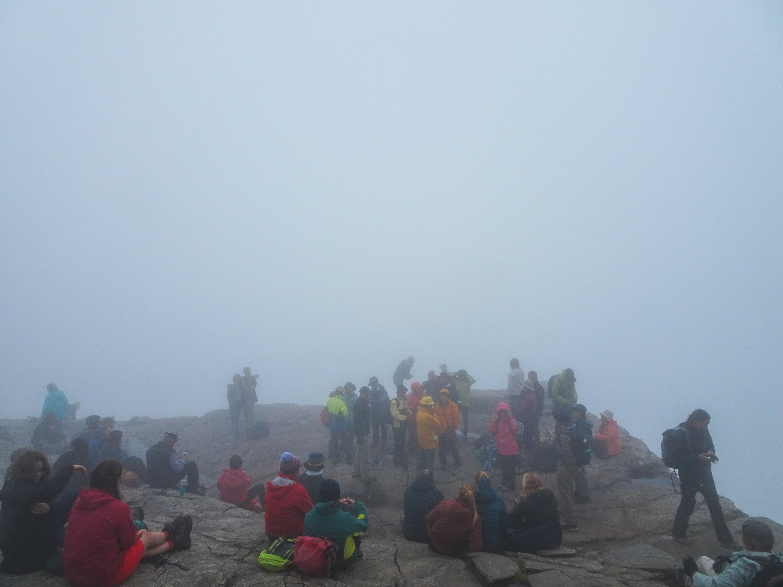 This is how crowded Preikestolen is even on a foggy day. The picture was taken midday in late June.