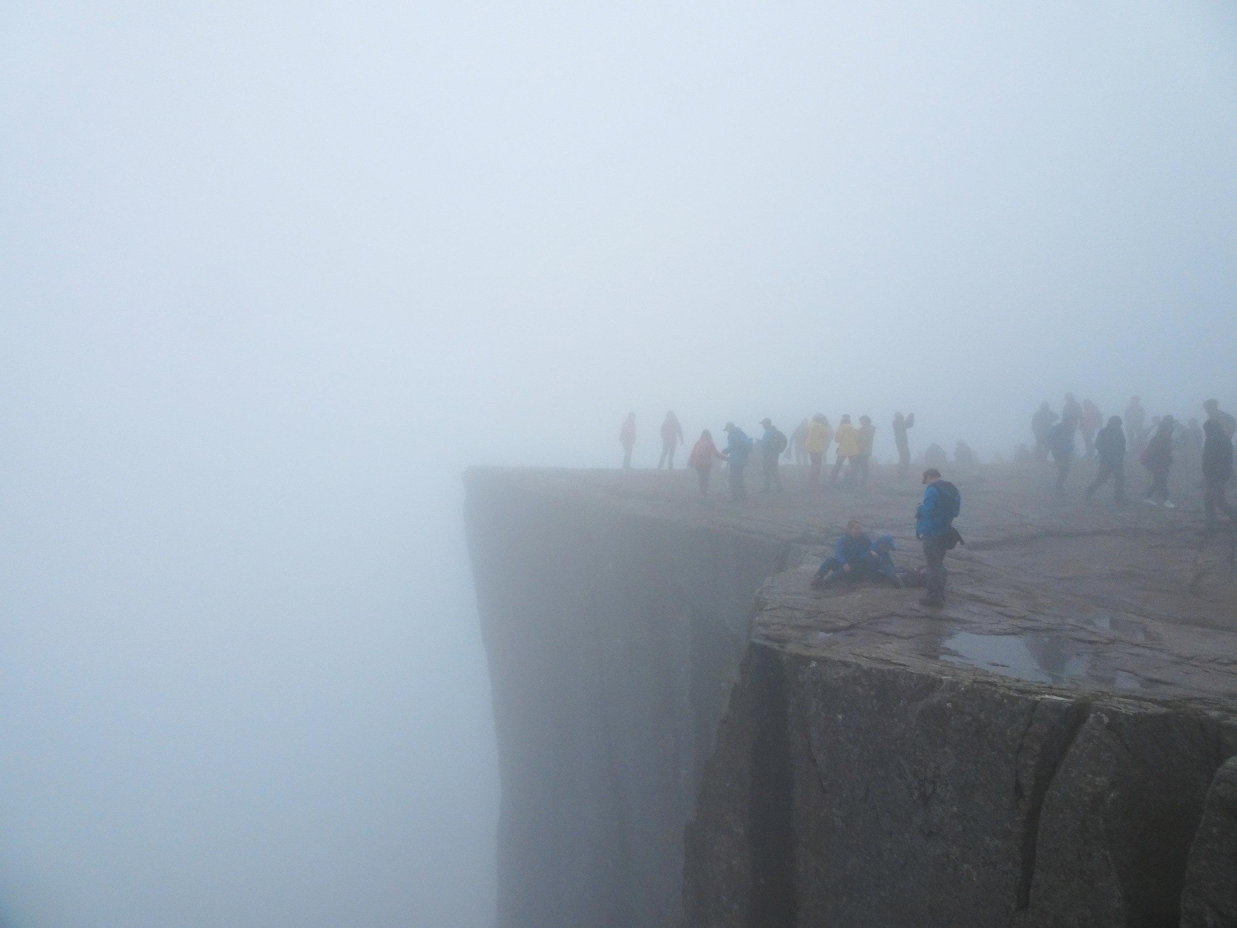 preikestolen on a foggy day