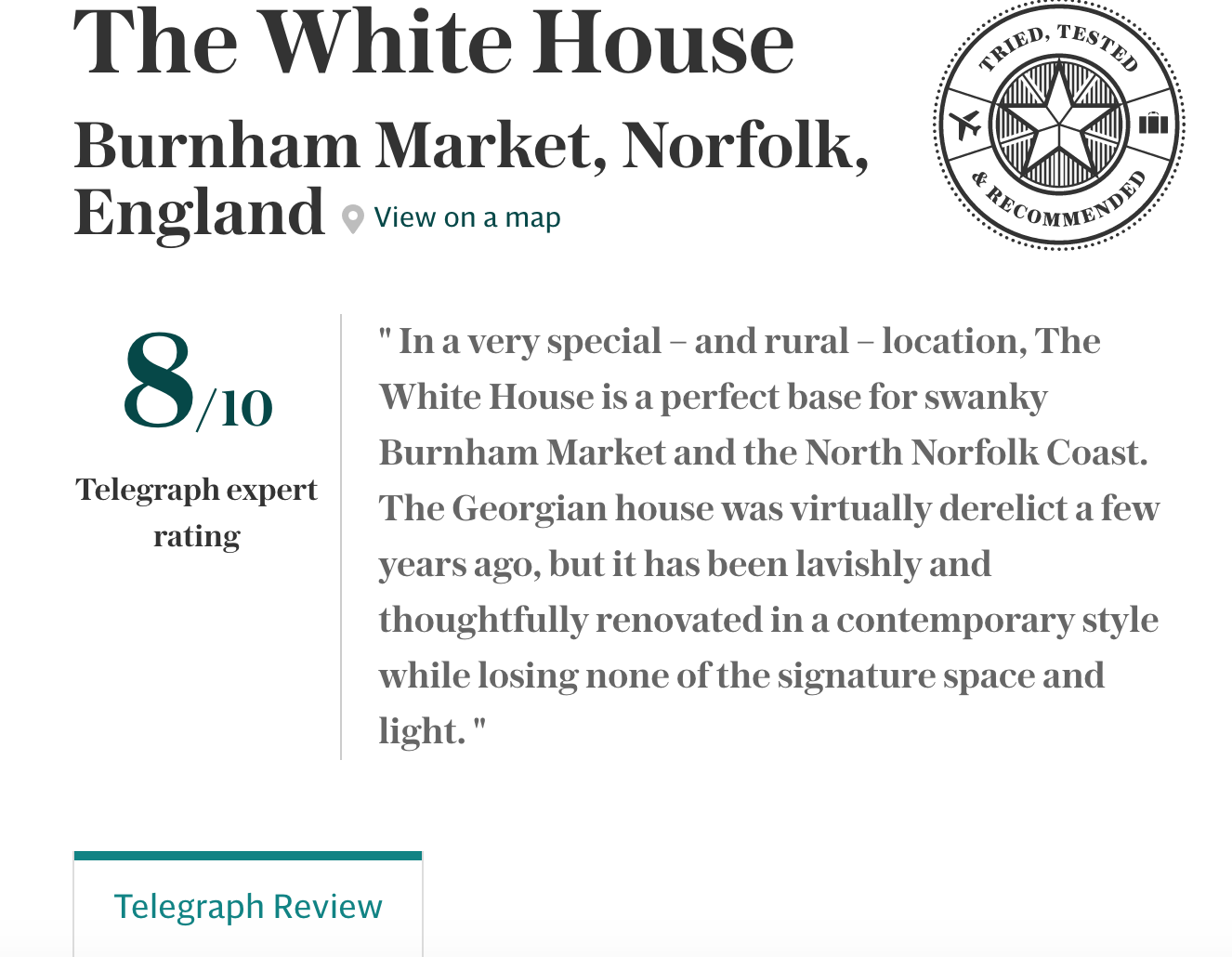please Click HERE to link to the Daily telegraph reveiw
