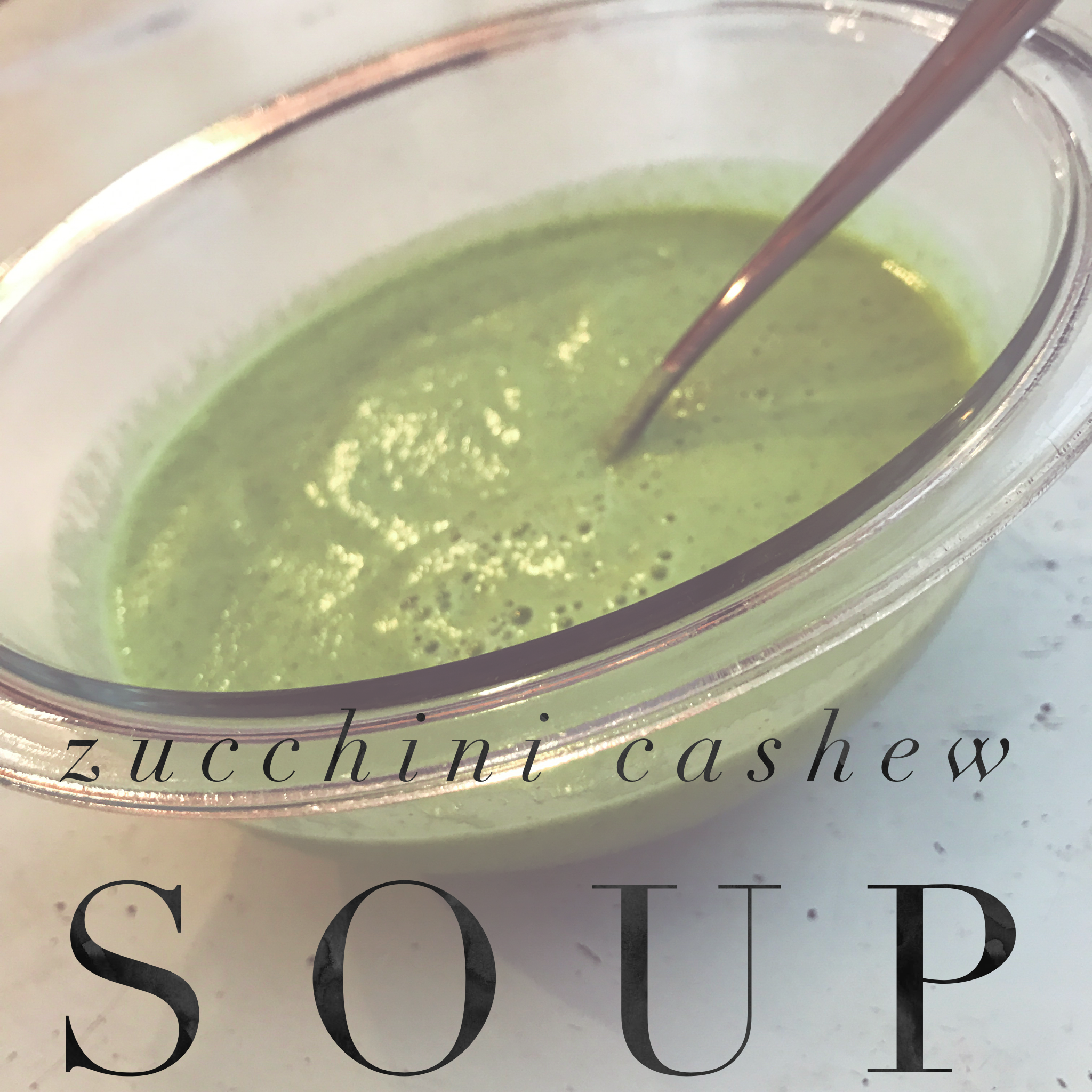 Ingredients:  1 oz. raw cashews (about 17 cashews) 1½ cups water, divided use 1½ medium zucchini, cut into chunks Himalayan salt (or Bragg Liquid Aminos) (to taste; optional) Herbal seasoning blend (or fresh herbs, like basil or dill) (to taste; optional)   Preparation:  1. Soak cashews in ½ cup water for 1 hour. 2. While cashews are soaking, bring 1 cup water to a boil in a small saucepan over medium heat. Add zucchini; cook for 4 to 5 minutes. Drain. Set aside. 3. Place cashews (with water), zucchini, salt (if desired), and seasoning blend (if desired) in a blender or food processor, in 2 or more batches if necessary; cover with lid and kitchen towel. Blend until smooth. 4. Heat soup, if desired, in a medium saucepan over medium heat; cook, stirring frequently, for 4 to 5 minutes or until hot. Do not boil. 5. Soup can also be served cold.
