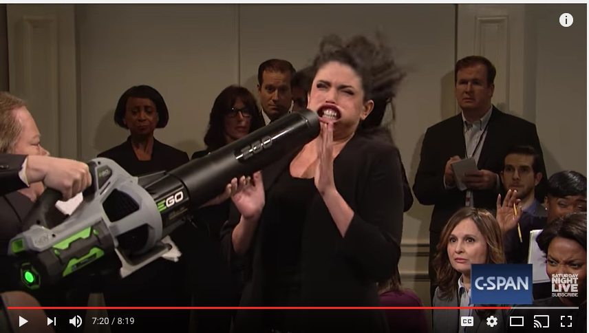 "Quiet, clean, yet demonstrably powerful electric leaf-blower in use in DC, as shown in screenshot from Saturday Night Live on February 11, 2017.  Embedded video of the ""cold open"" is below."